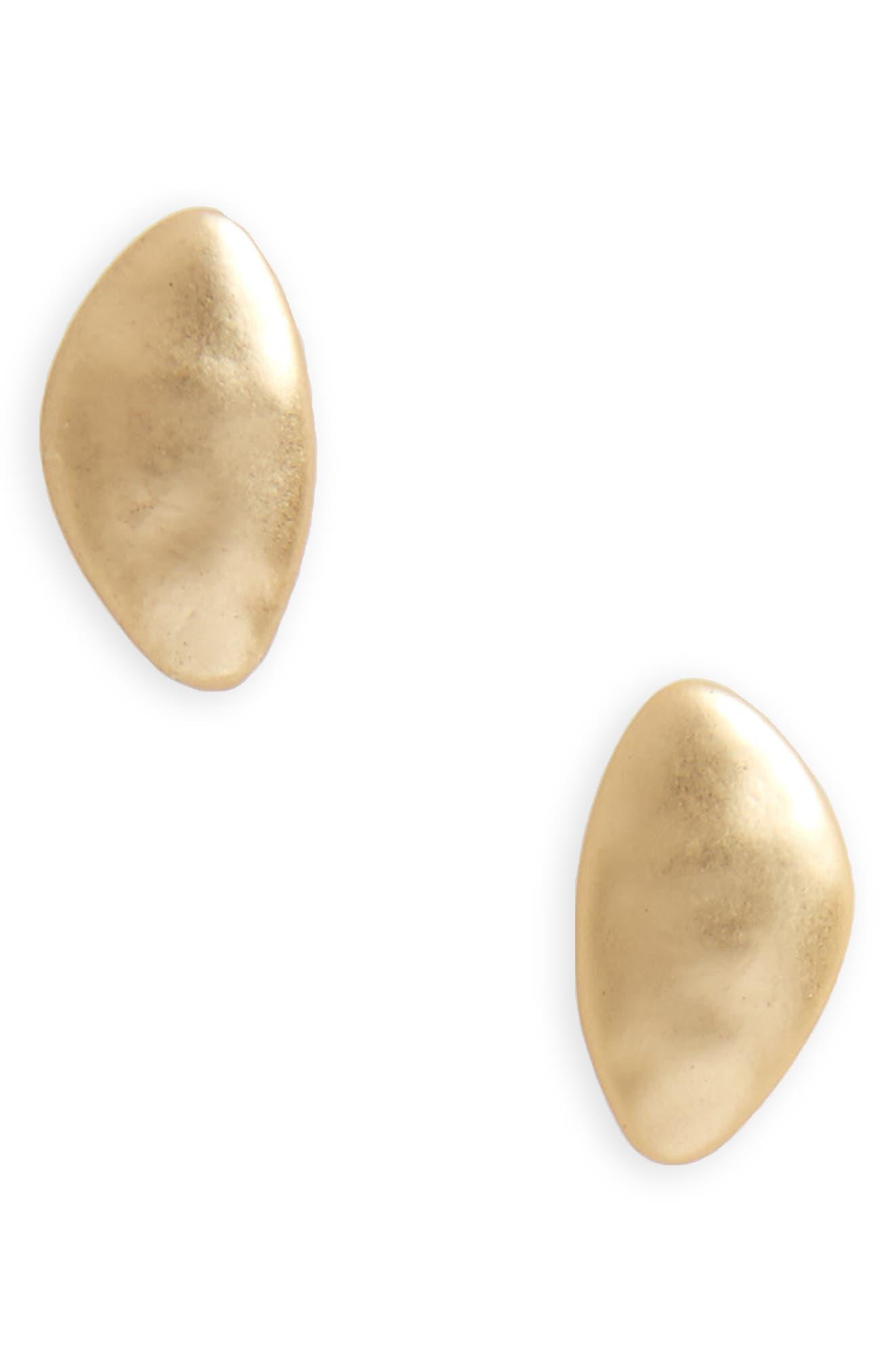 Brushed Metal Stud Earrings,                         Main,                         color, Worn Gold