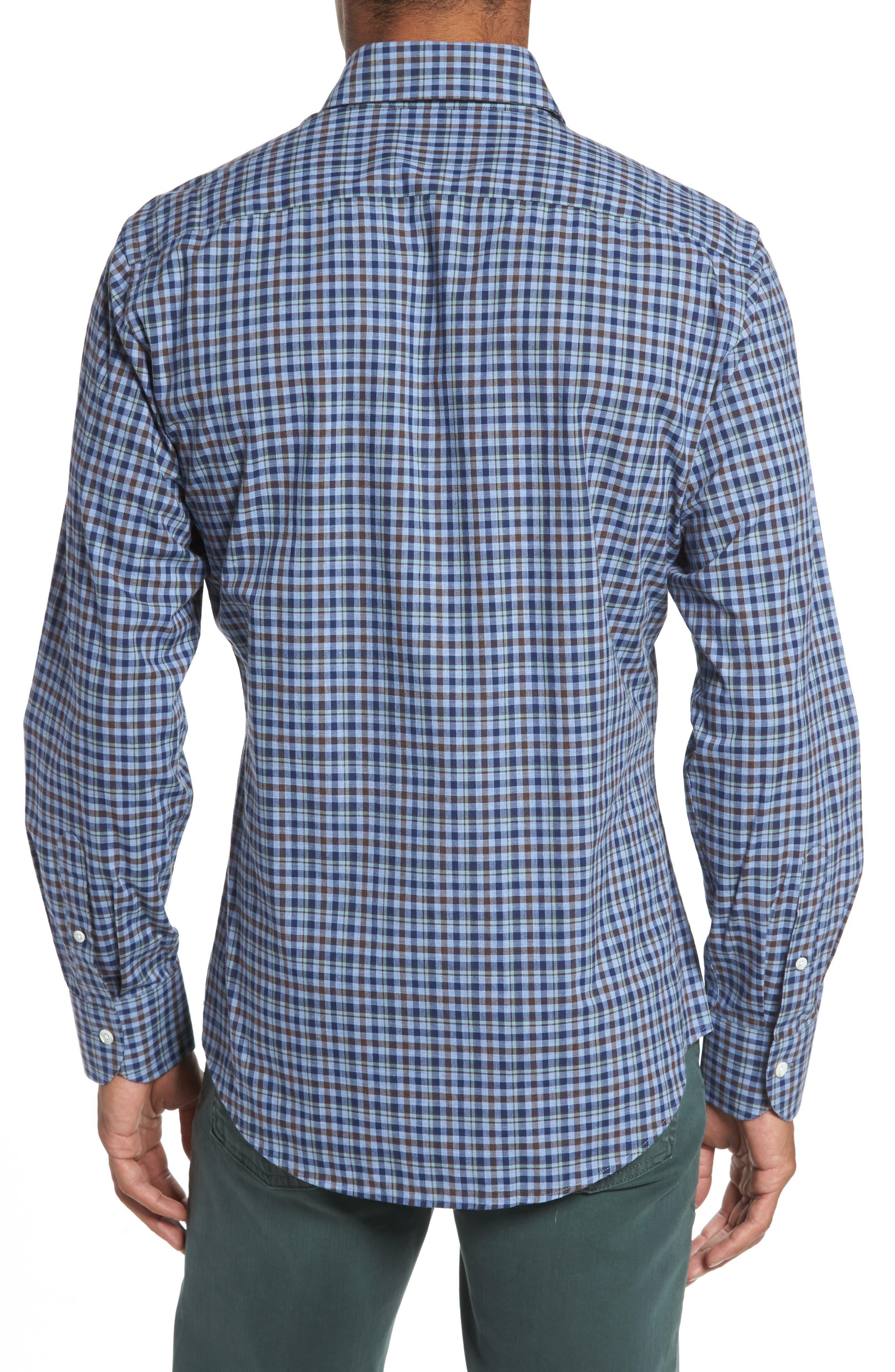 Alden Slim Fit Plaid Sport Shirt,                             Alternate thumbnail 2, color,                             Blue