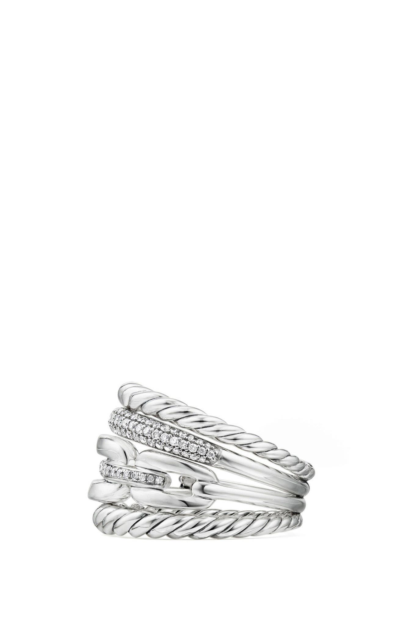 Wellesley Four-Row Ring with Diamonds,                             Alternate thumbnail 3, color,                             Silver