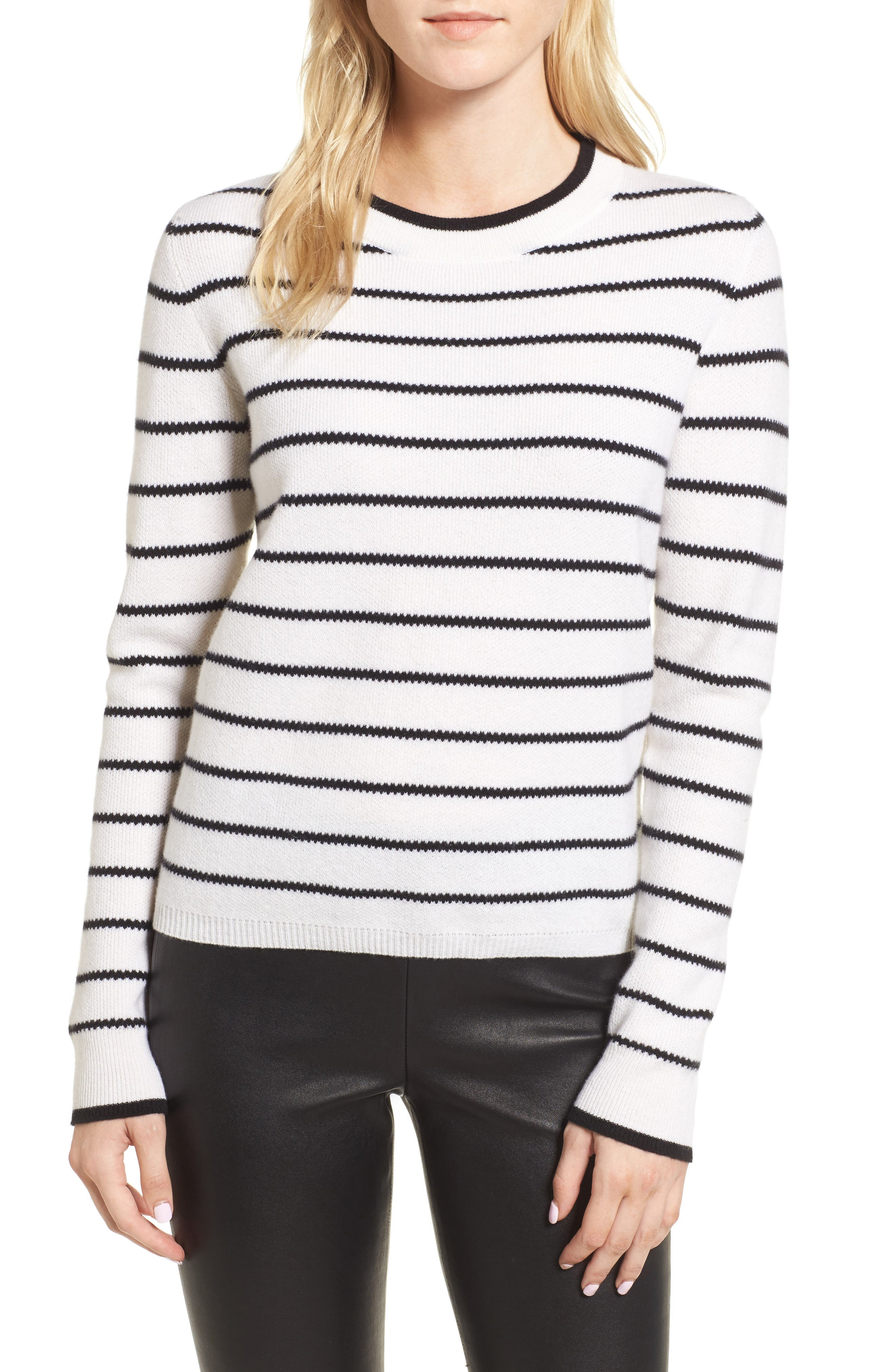 Stripe Cashmere Sweater,                             Main thumbnail 1, color,                             Ivory- Black Stripe