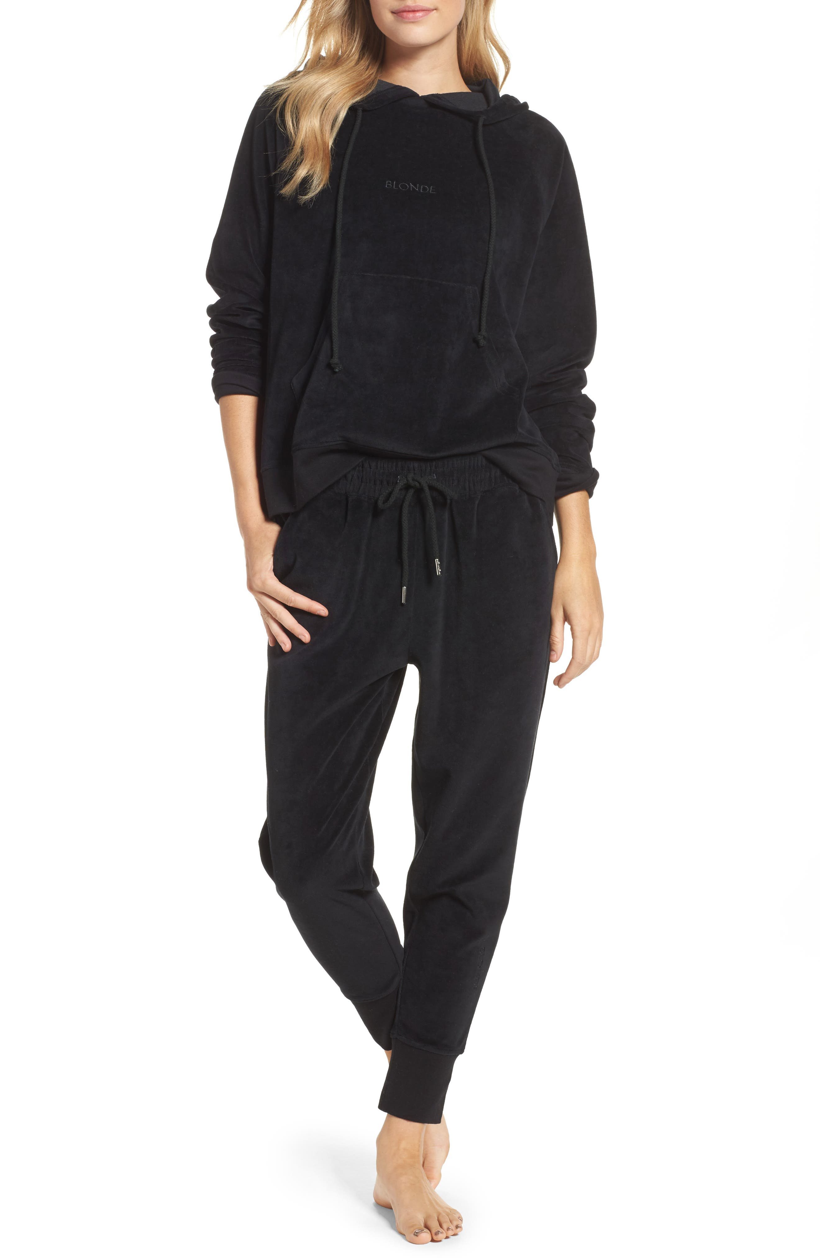 Blonde Embroidered Velour Jogger Pants,                             Alternate thumbnail 4, color,                             Black