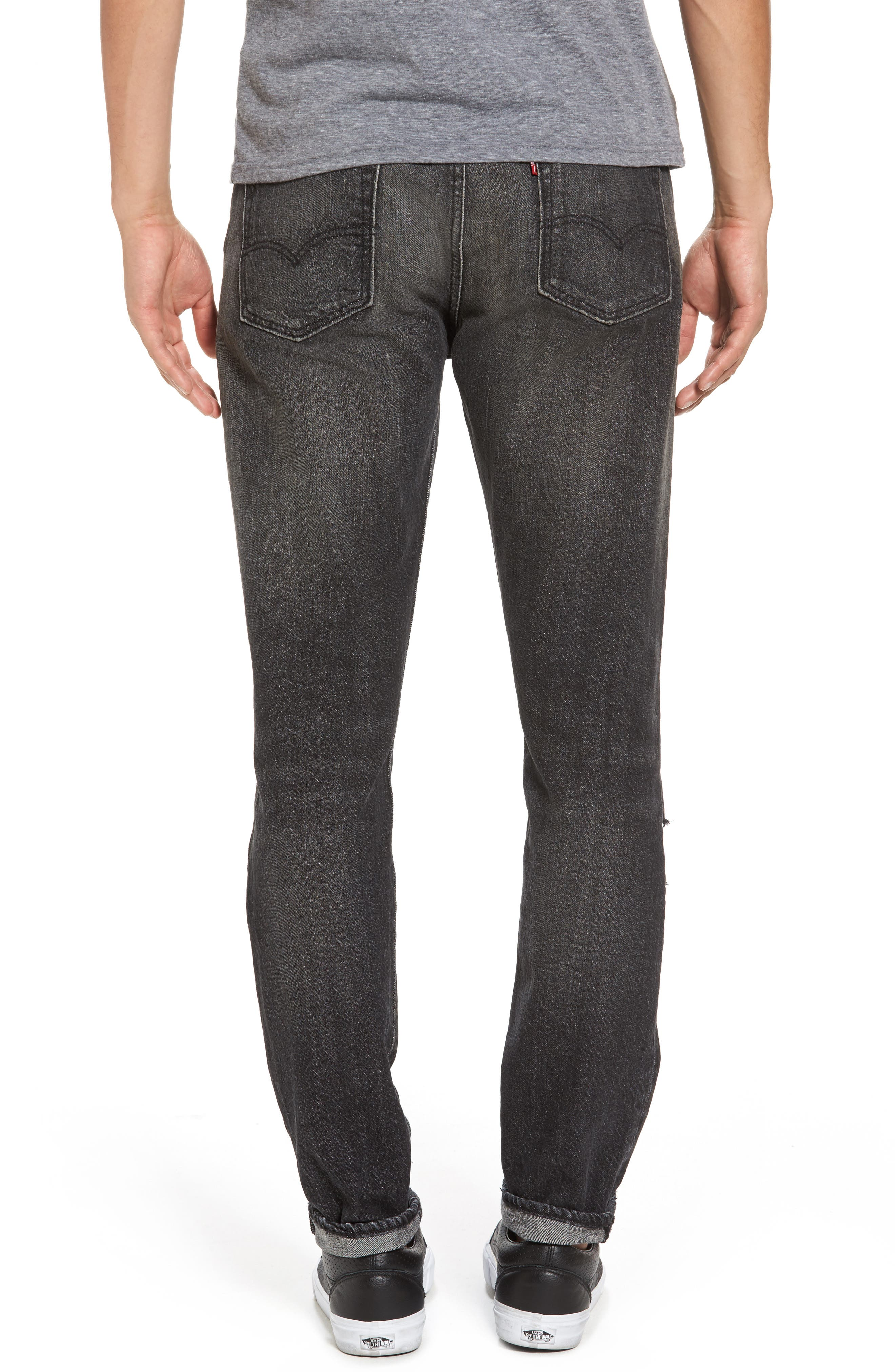 Alternate Image 2  - Levi's® 501™ Slouchy Tapered Slim Fit Jeans (Black Moor)