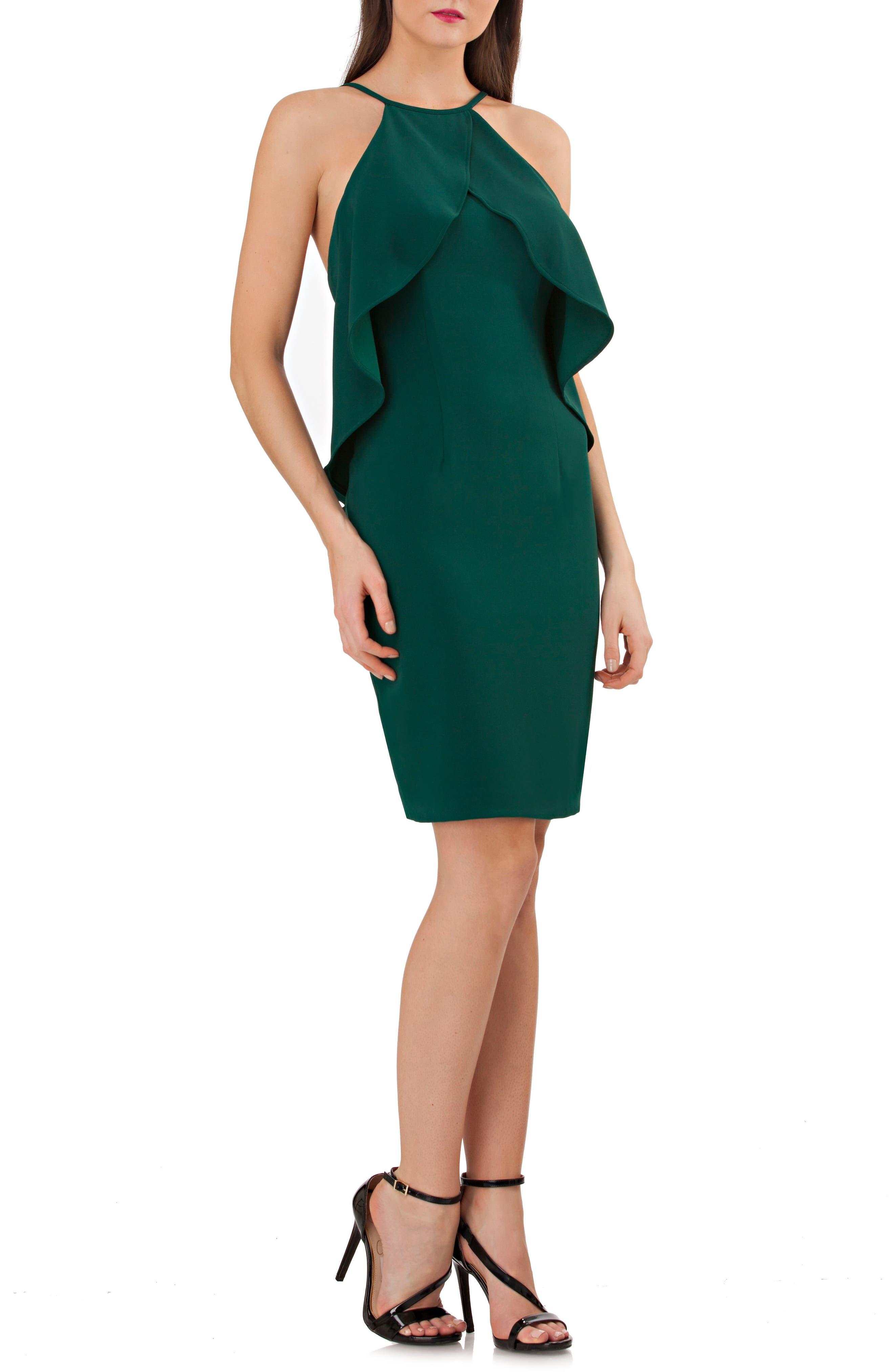 Alternate Image 1 Selected - Carmen Marc Valvo Infusion Ruffle Crepe Sheath Dress