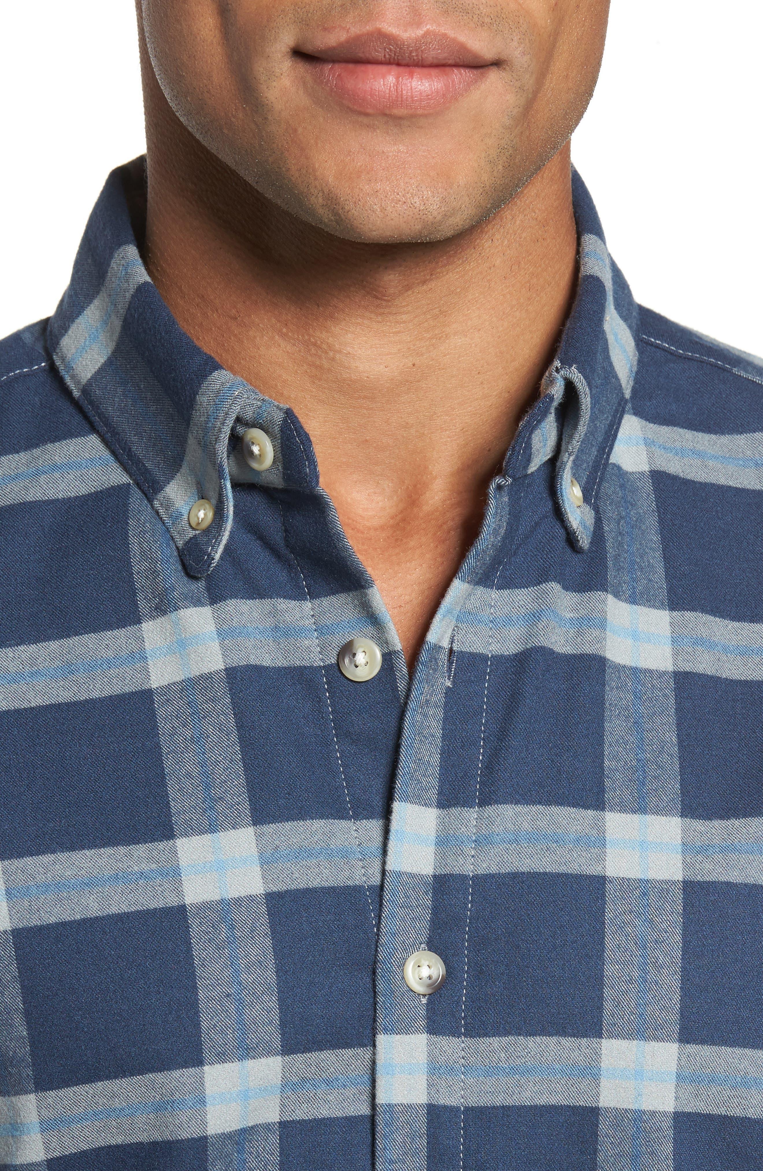 Fairview Slim Fit Plaid Flannel Sport Shirt,                             Alternate thumbnail 4, color,                             Blue