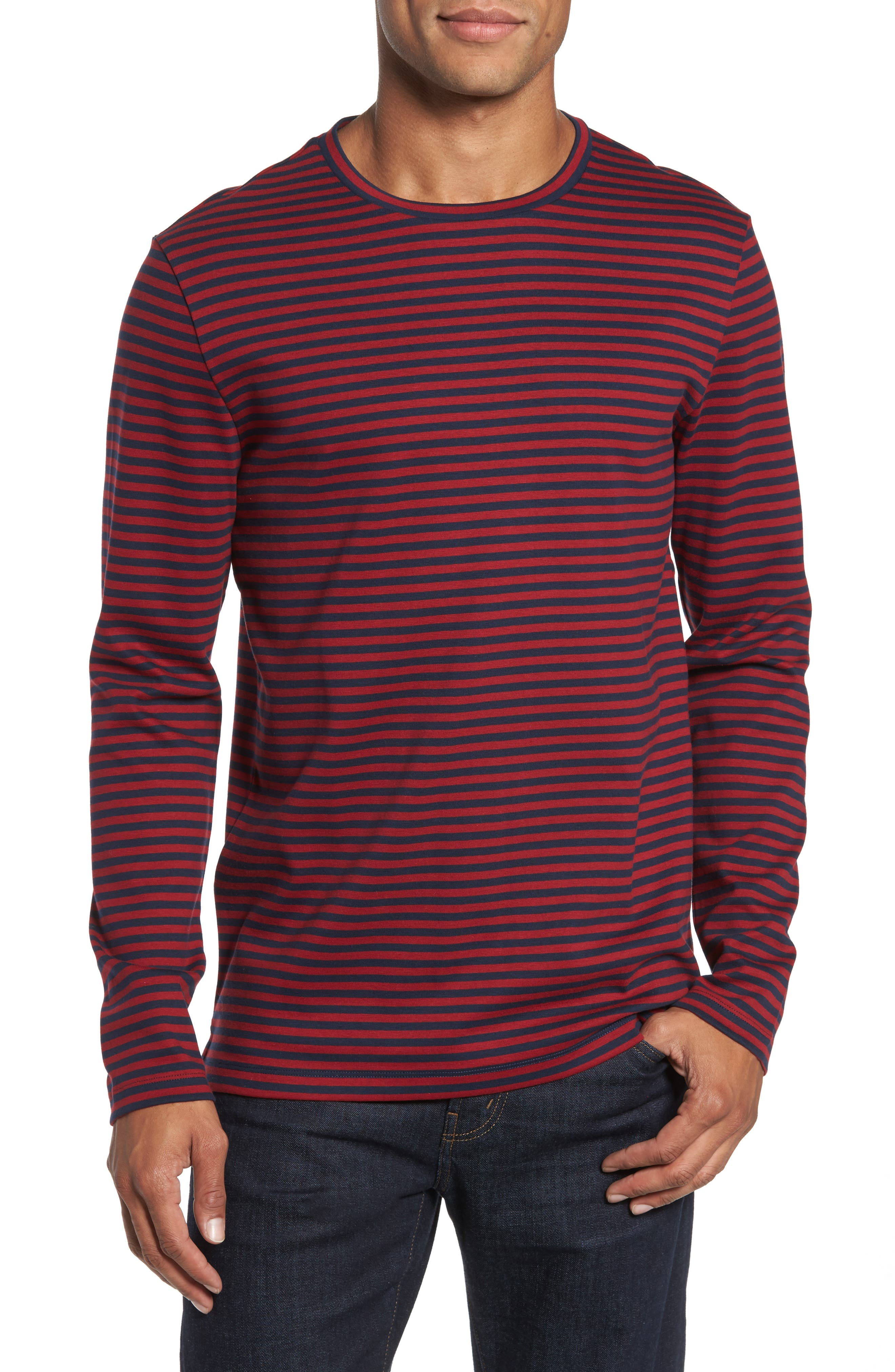 Stripe Long Sleeve T-Shirt,                         Main,                         color, Red