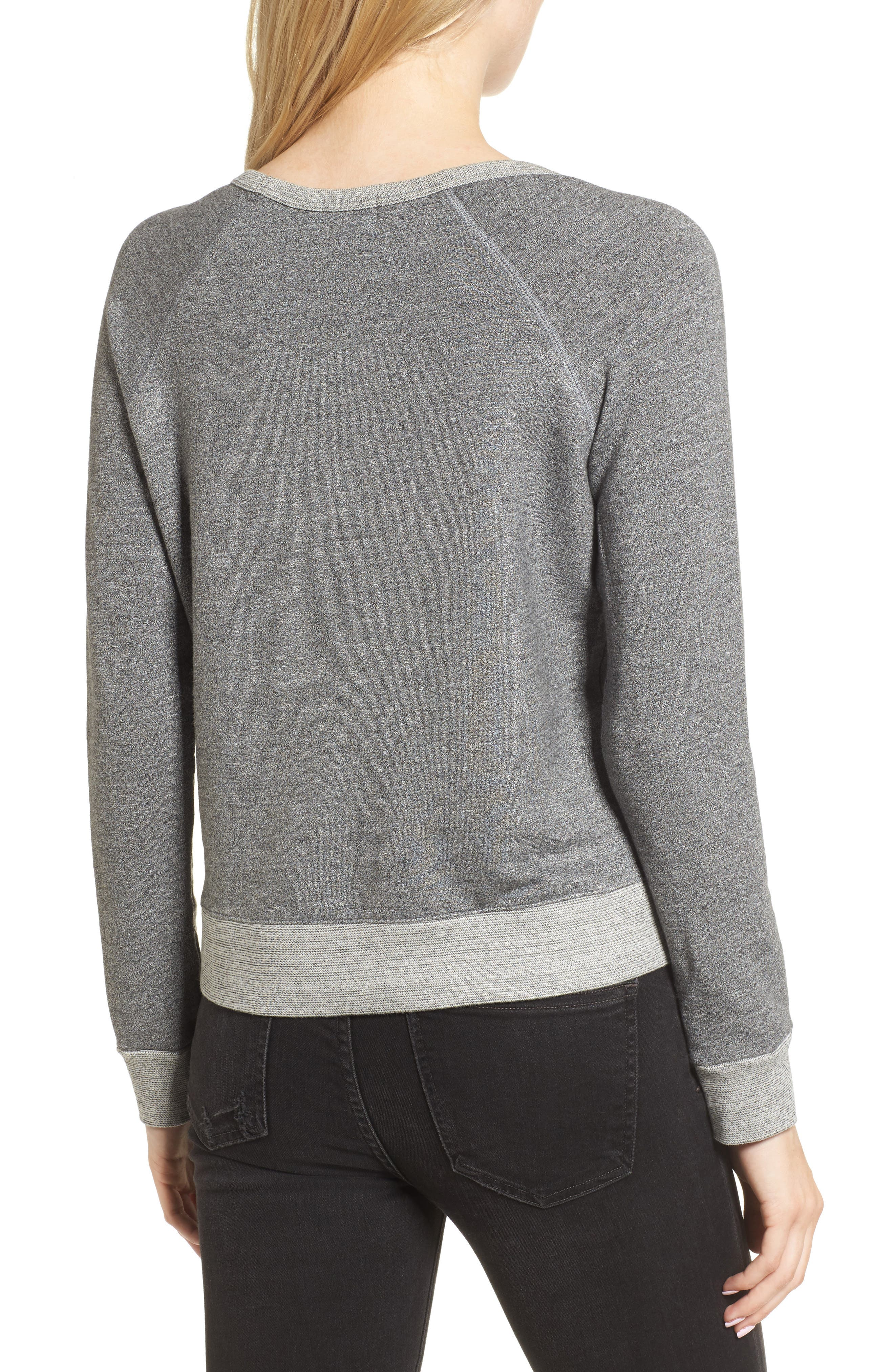 Chic Crop Sweatshirt,                             Alternate thumbnail 2, color,                             Heather Grey