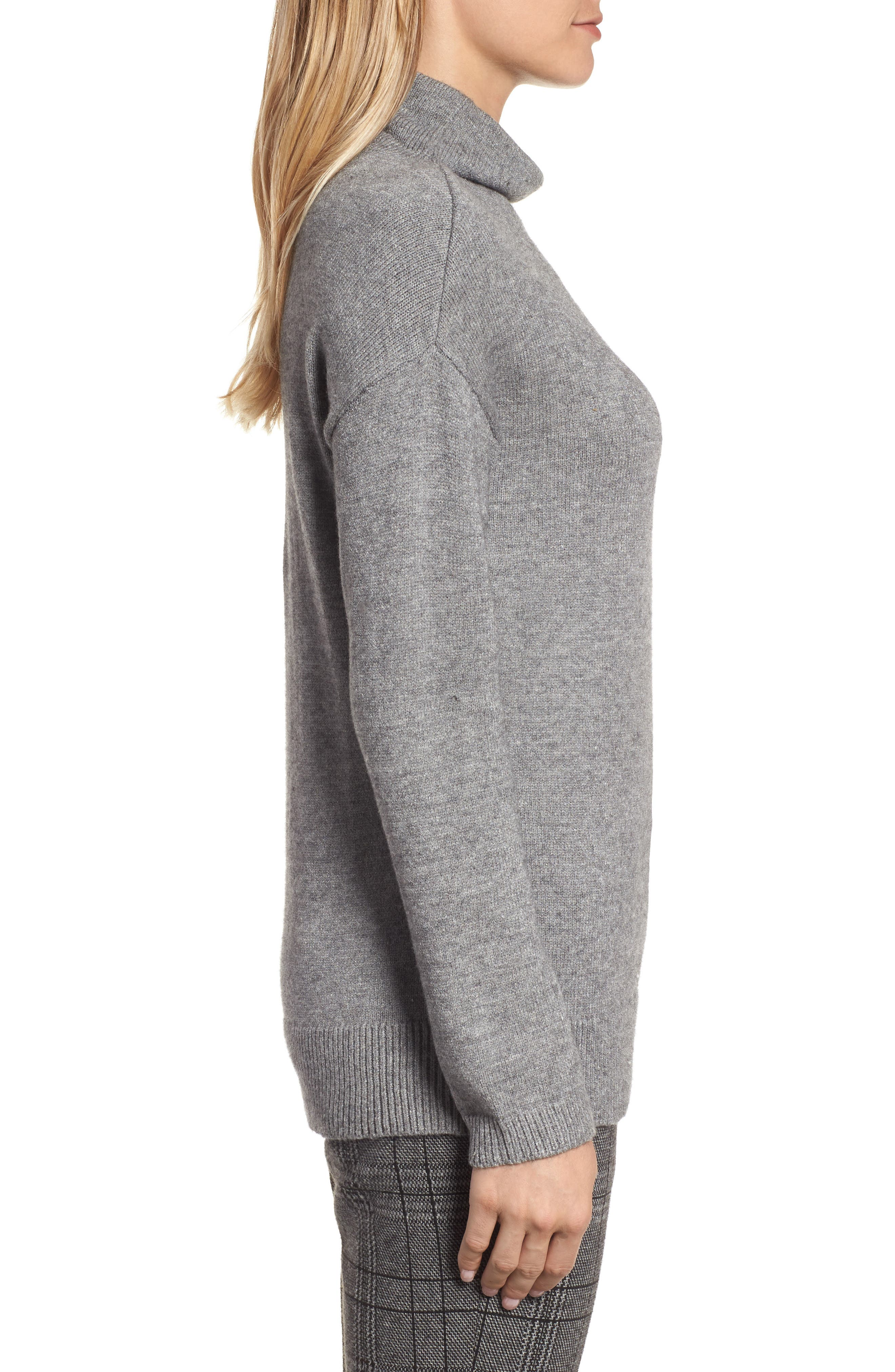 RD Style Funnel Neck Sweater,                             Alternate thumbnail 3, color,                             Grey