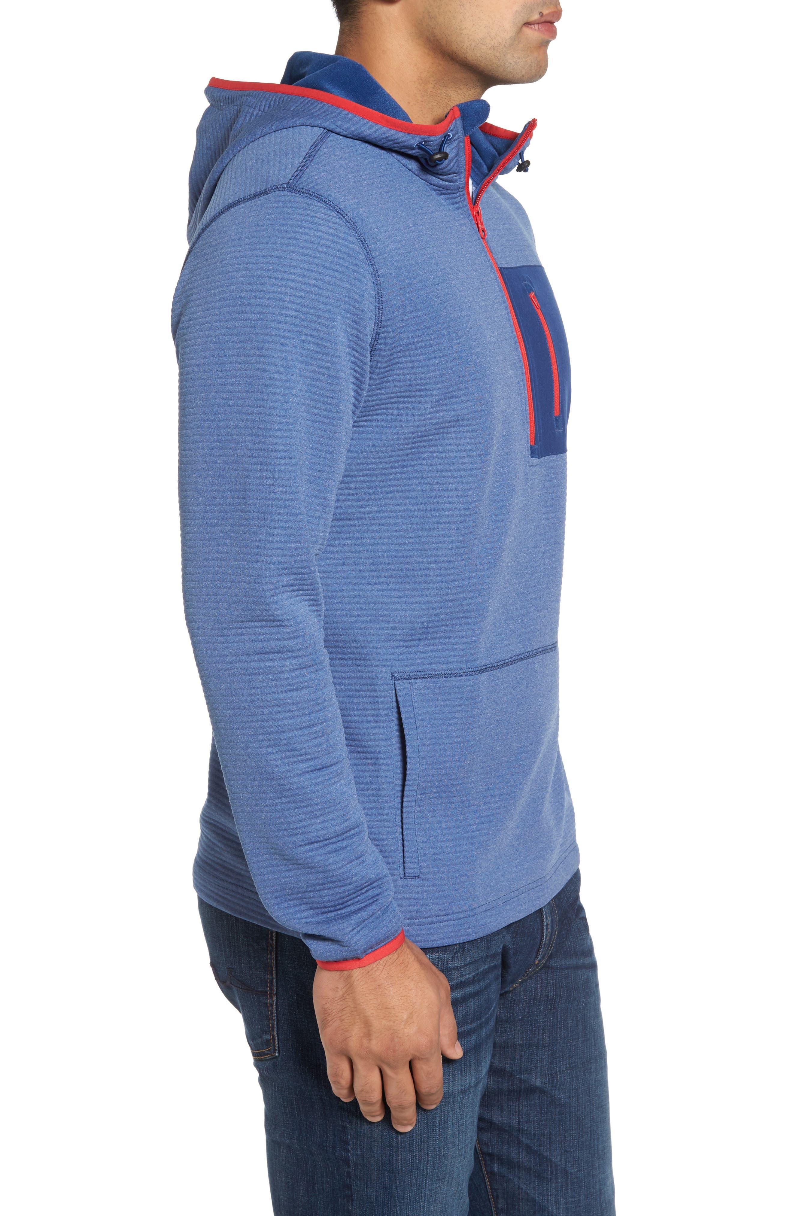 Furrow Quarter Zip Hoodie,                             Alternate thumbnail 3, color,                             Seven Seas Blue