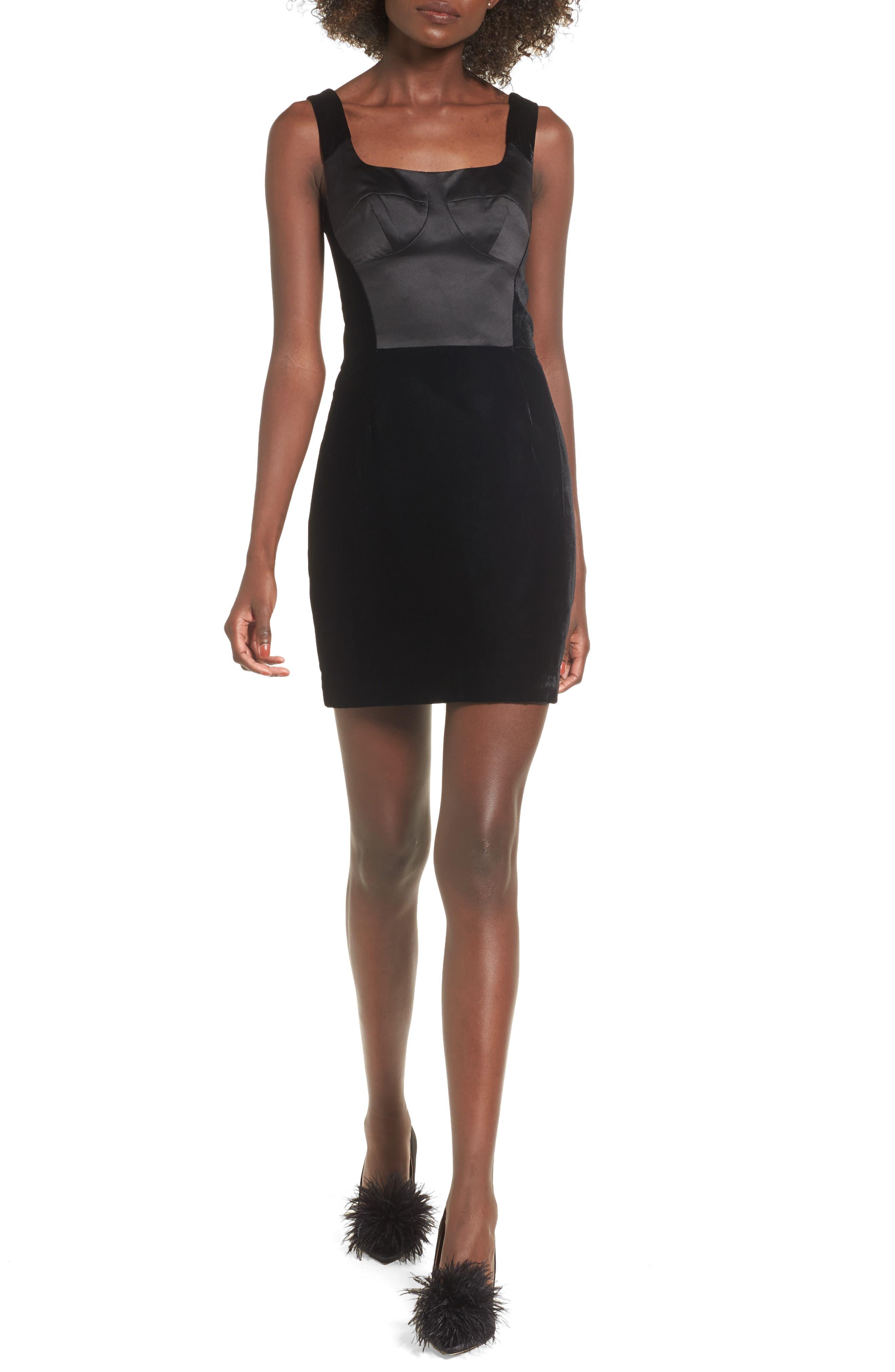 Velvet Minidress,                         Main,                         color, Black