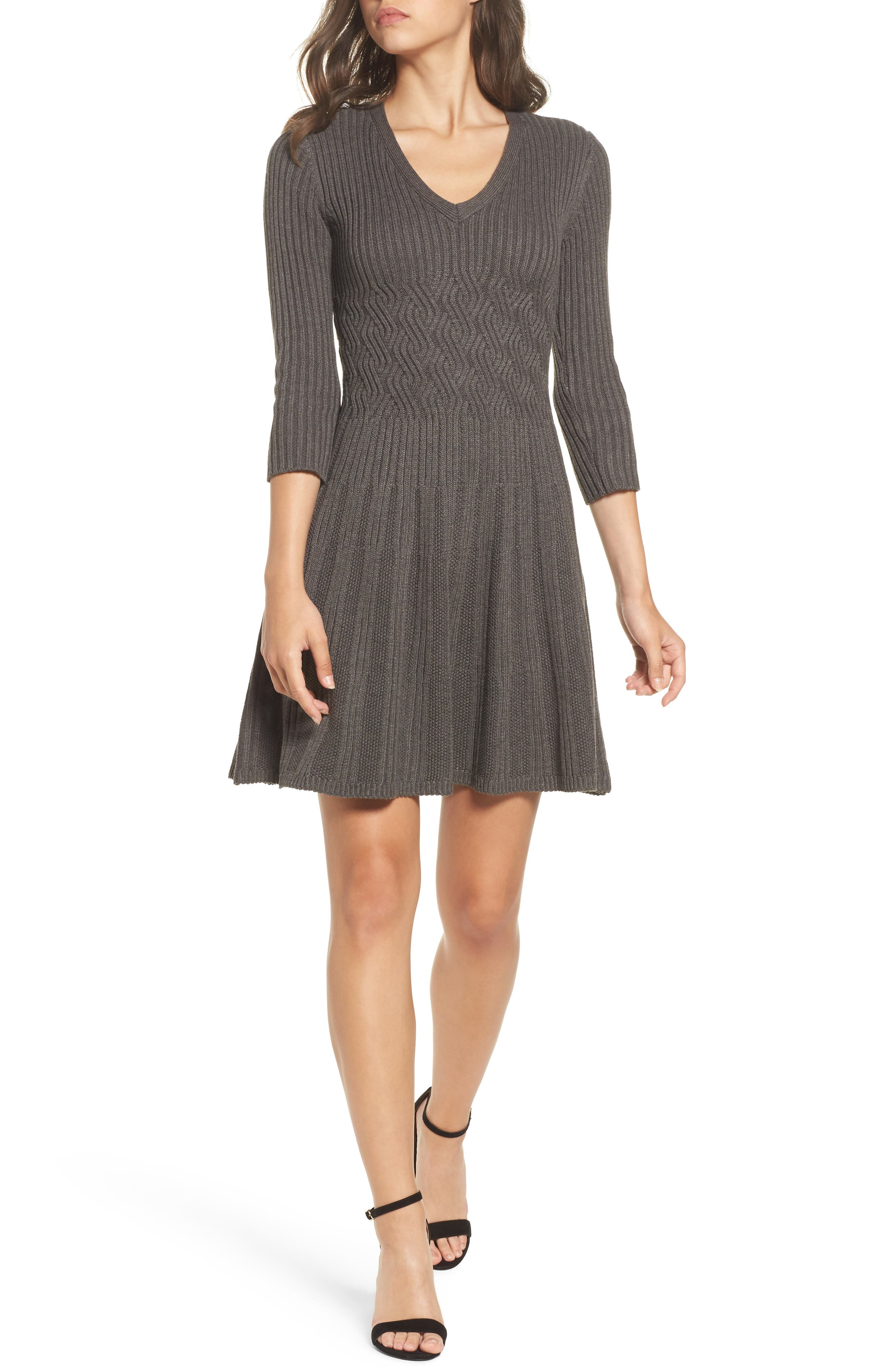 Ribbed Fit & Flare Dress,                         Main,                         color, Grey