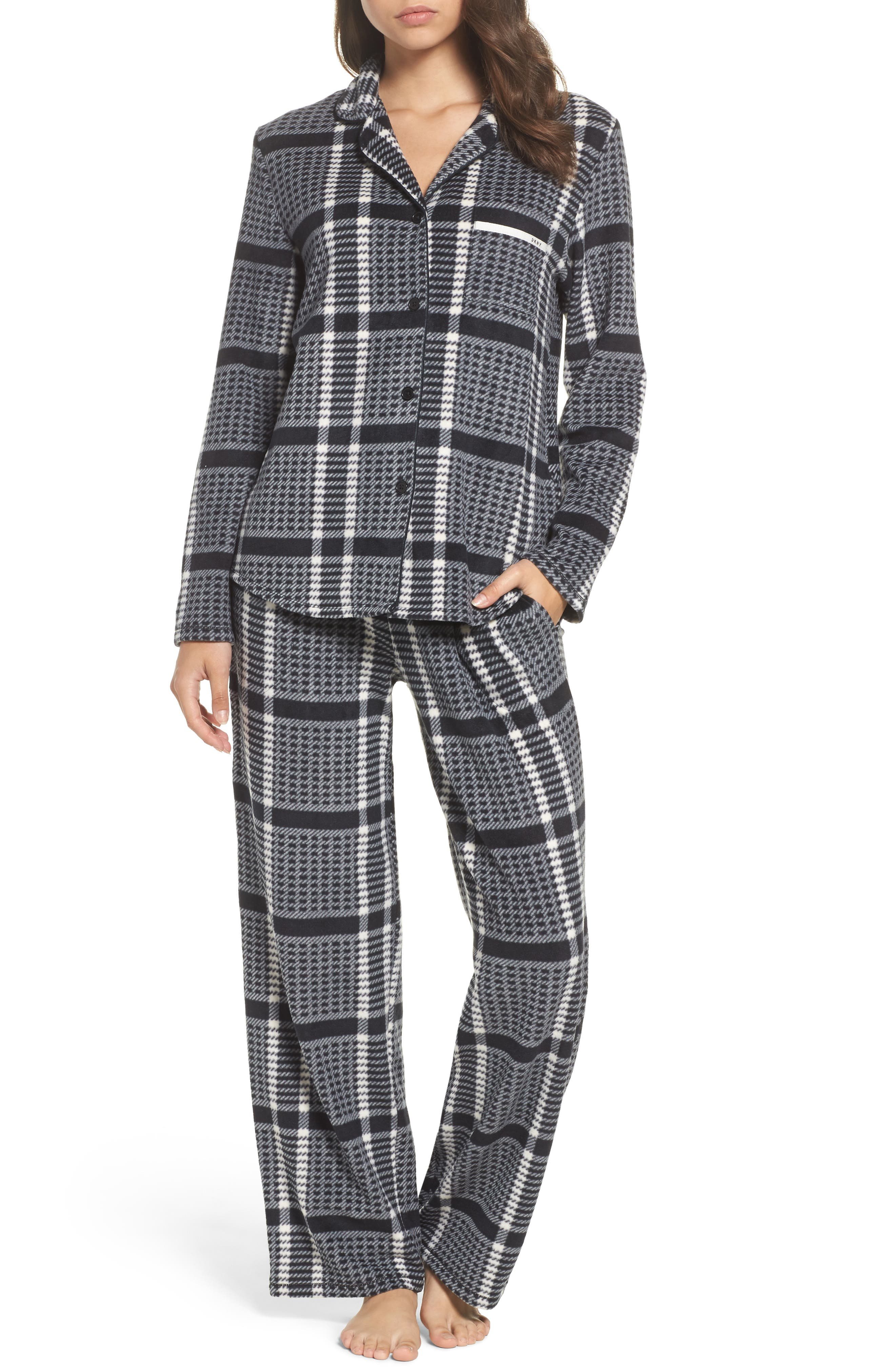 DKNY Stretch Fleece Long Pajamas