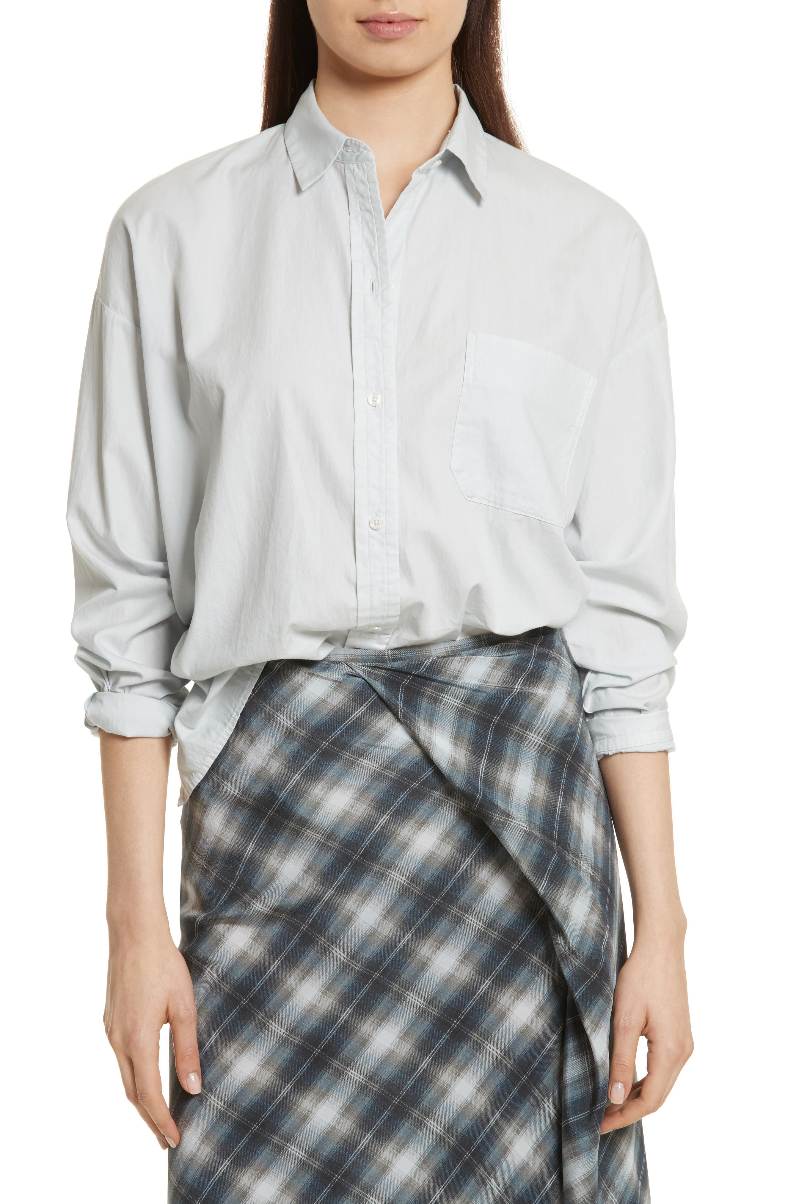 Alternate Image 1 Selected - Vince Single Pocket Cotton & Silk Shirt