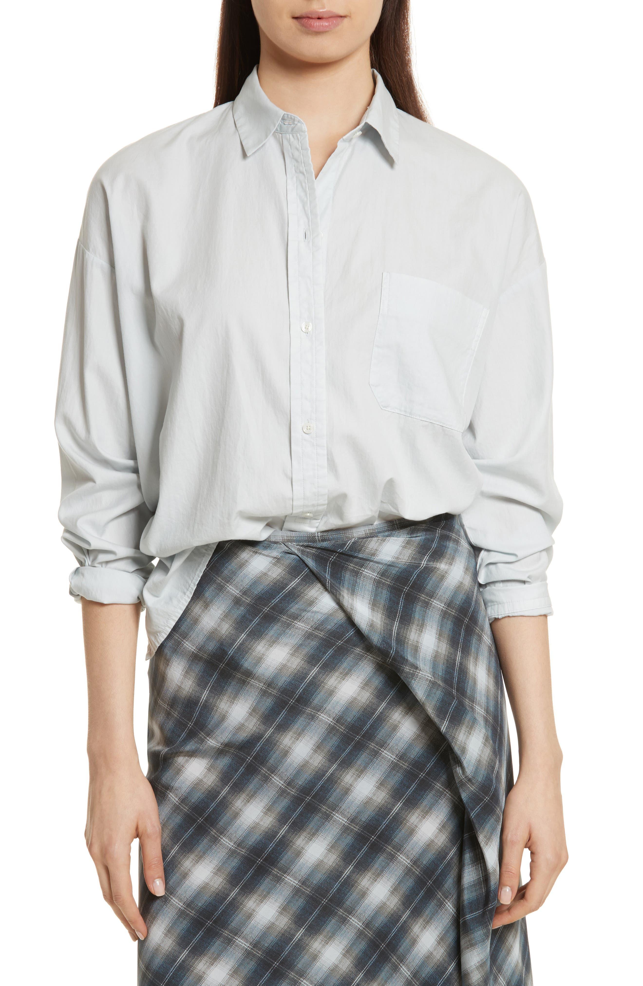 Main Image - Vince Single Pocket Cotton & Silk Shirt