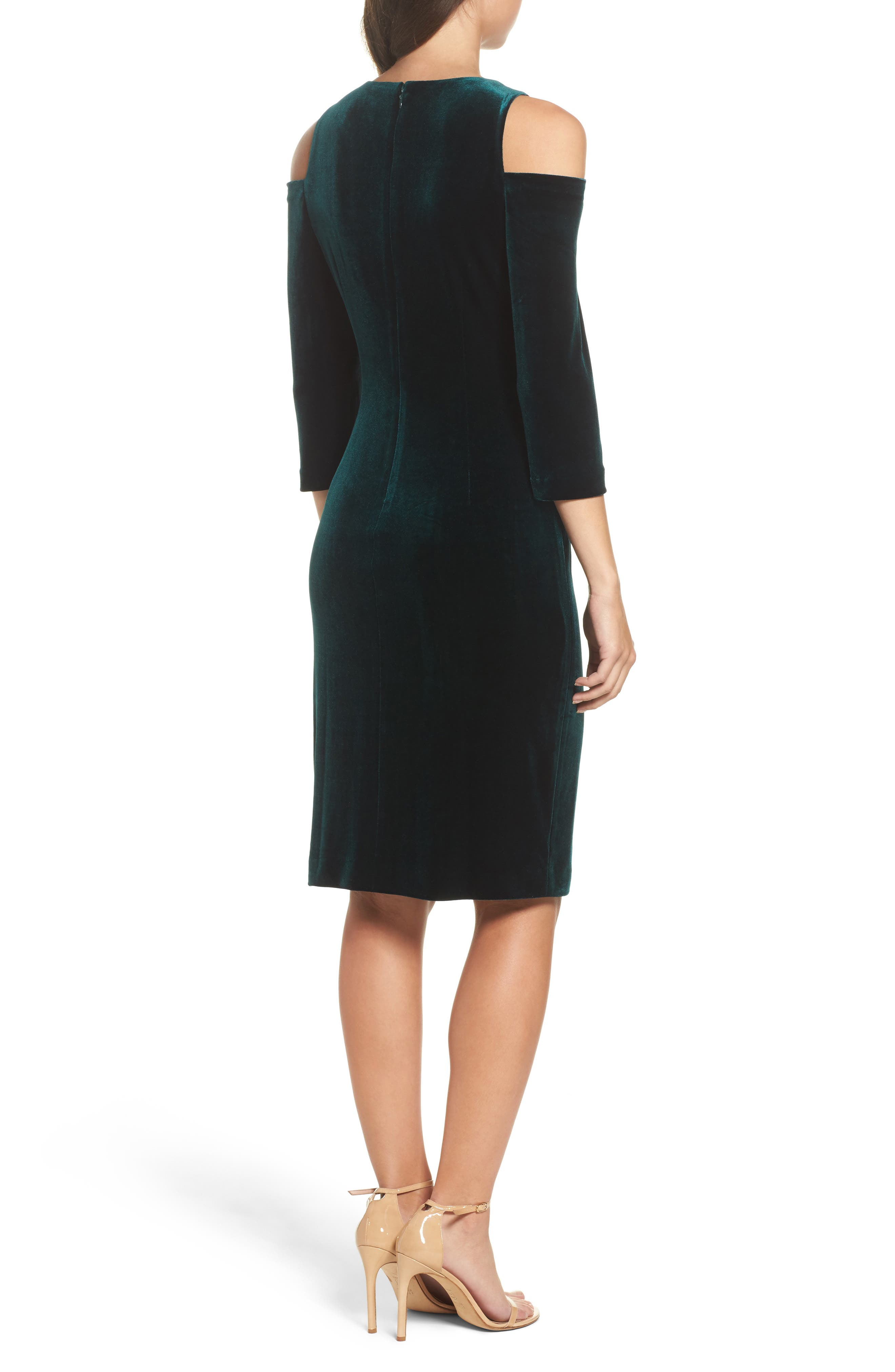 Alternate Image 2  - Eliza J Cold Shoulder Velvet Sheath Dress