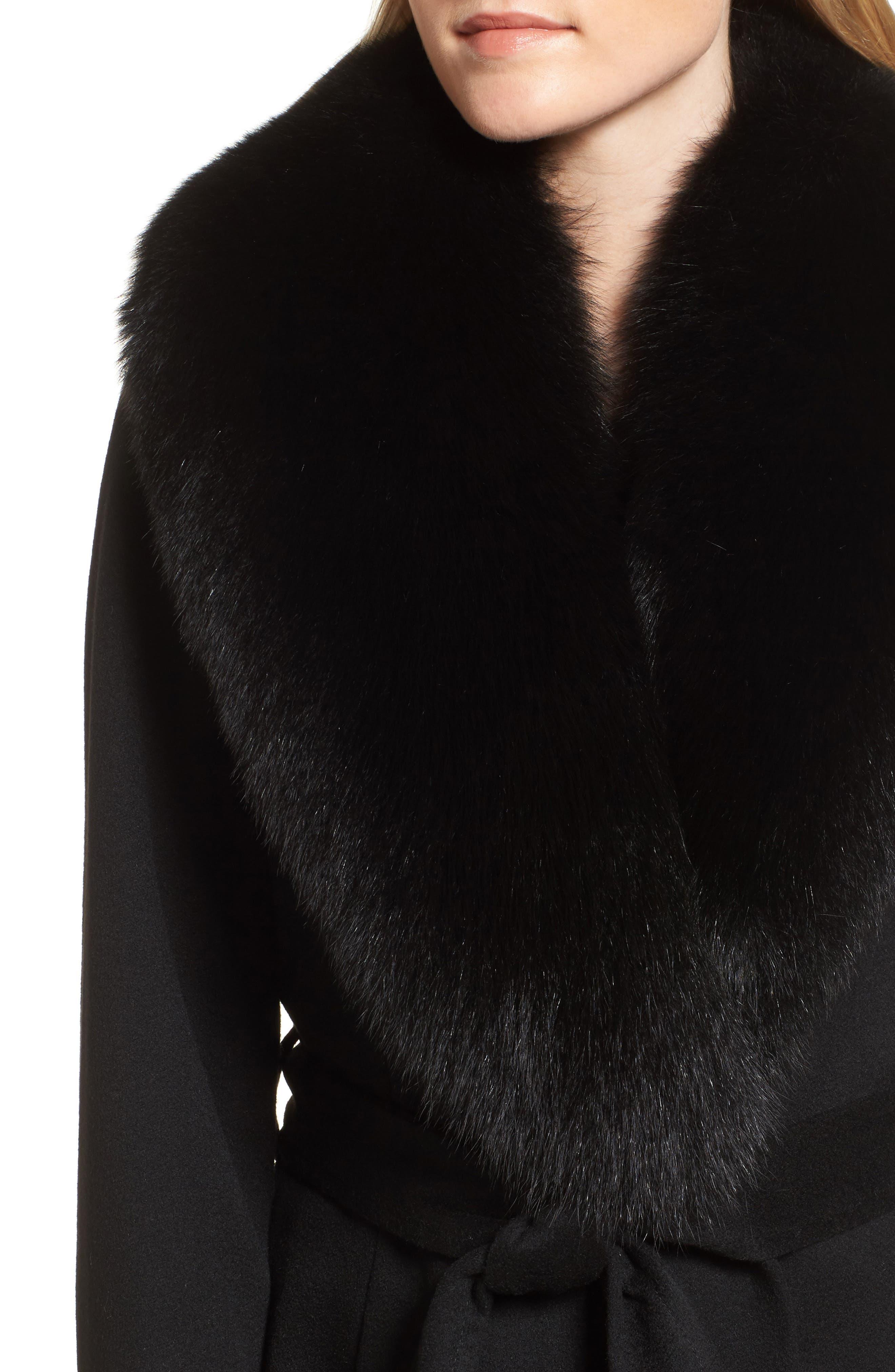 Genuine Fox Fur Lapel Wool & Cashmere Wrap Coat,                             Alternate thumbnail 4, color,                             Black