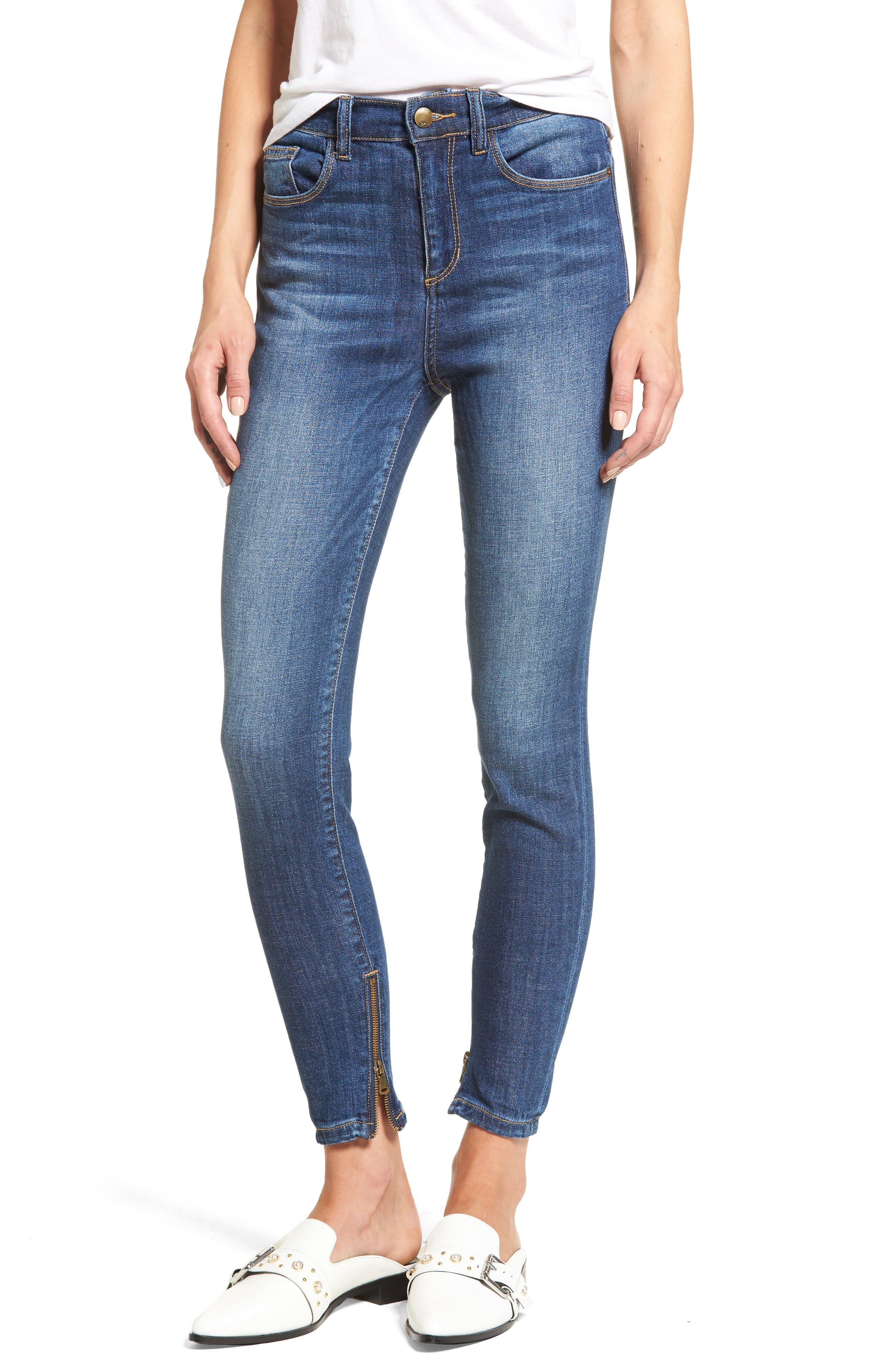 SP Black Zip Hem High Waist Skinny Jeans