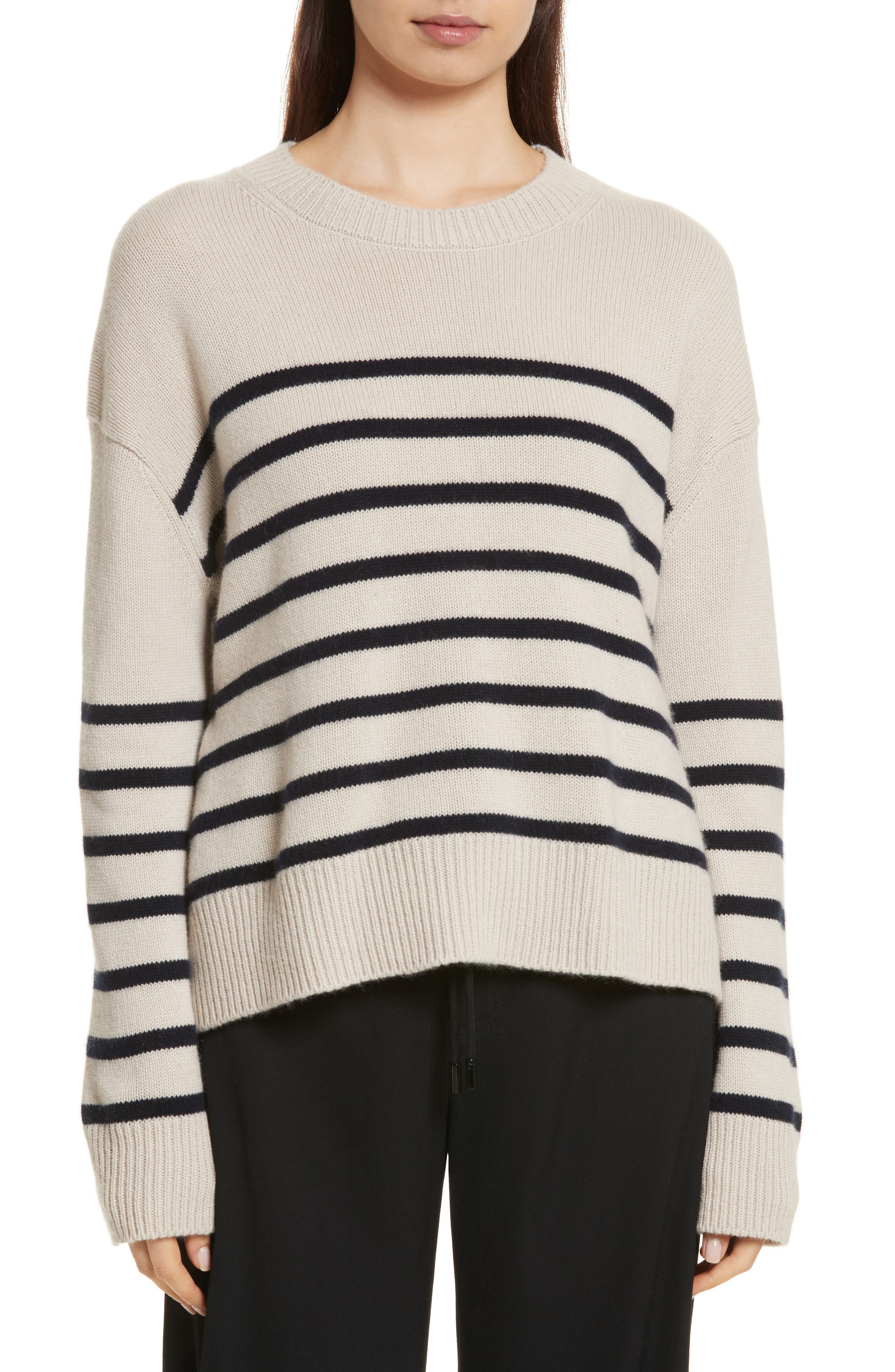 Cashmere Stripe Boxy Crew Sweater,                             Main thumbnail 1, color,                             Chalet/ Coastal
