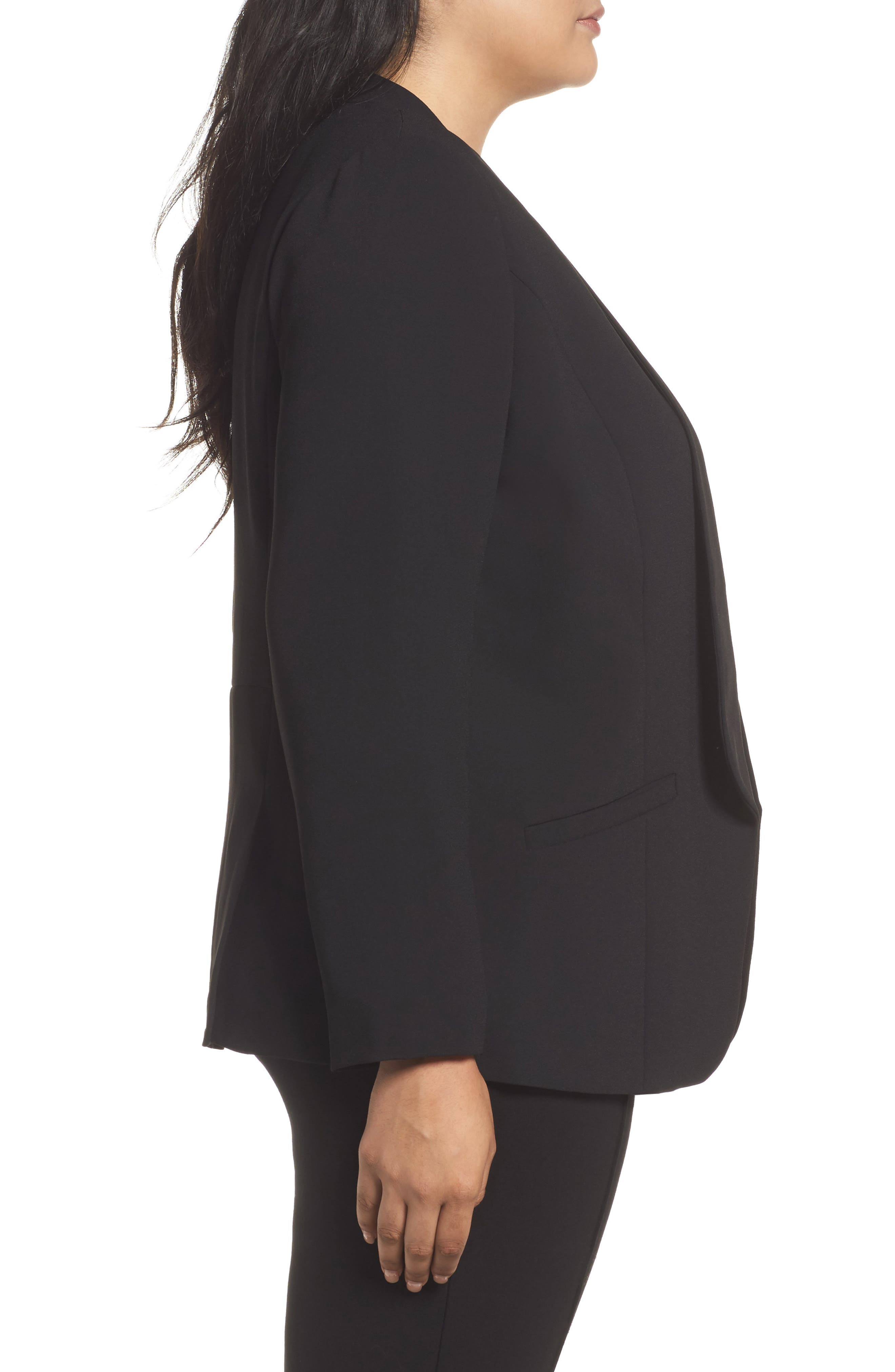 Alternate Image 3  - Sejour Drape Front Crepe Jacket (Plus Size)