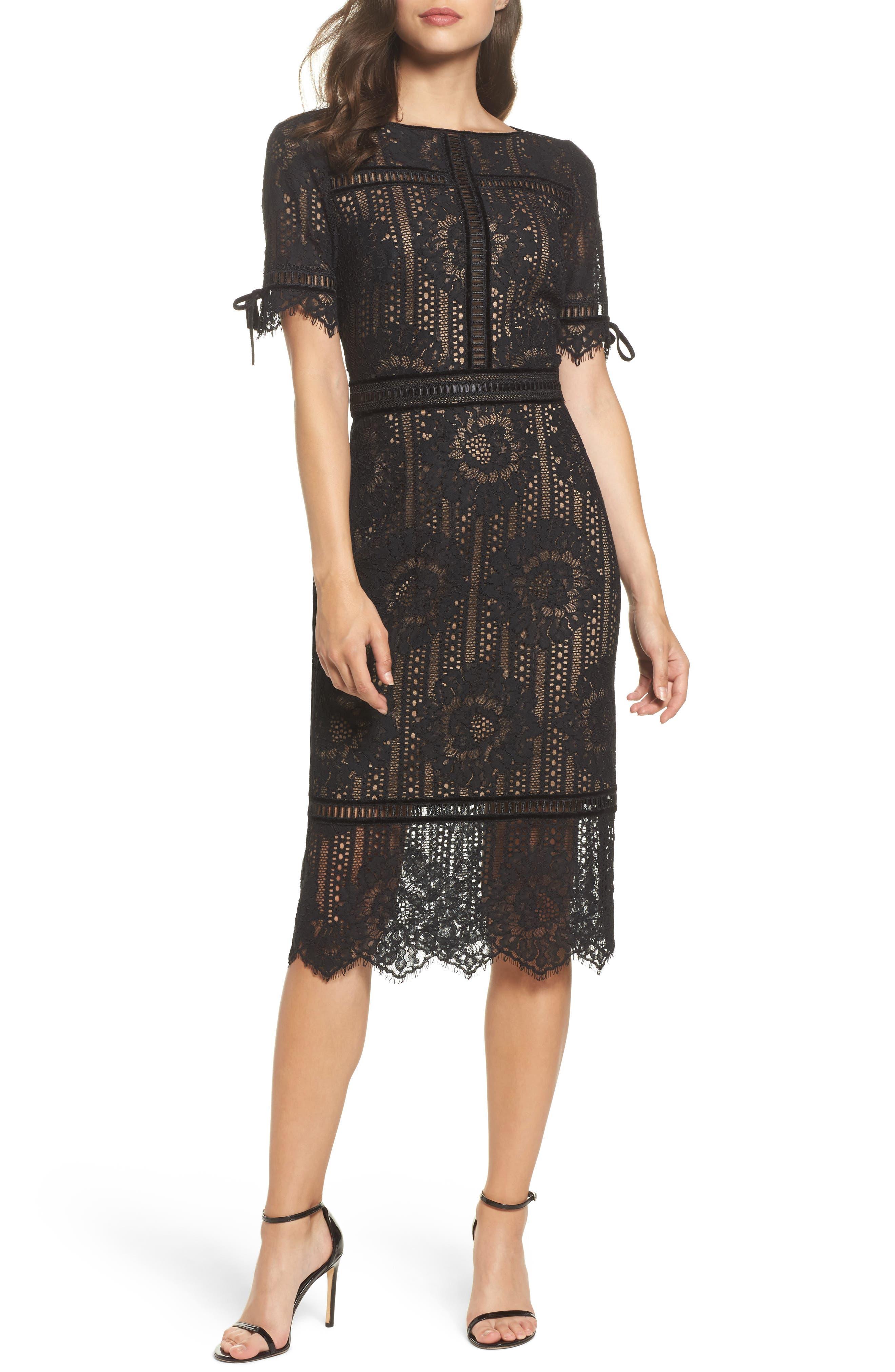 Velvet Trim Lace Sheath Dress,                             Main thumbnail 1, color,                             Black/ Nude