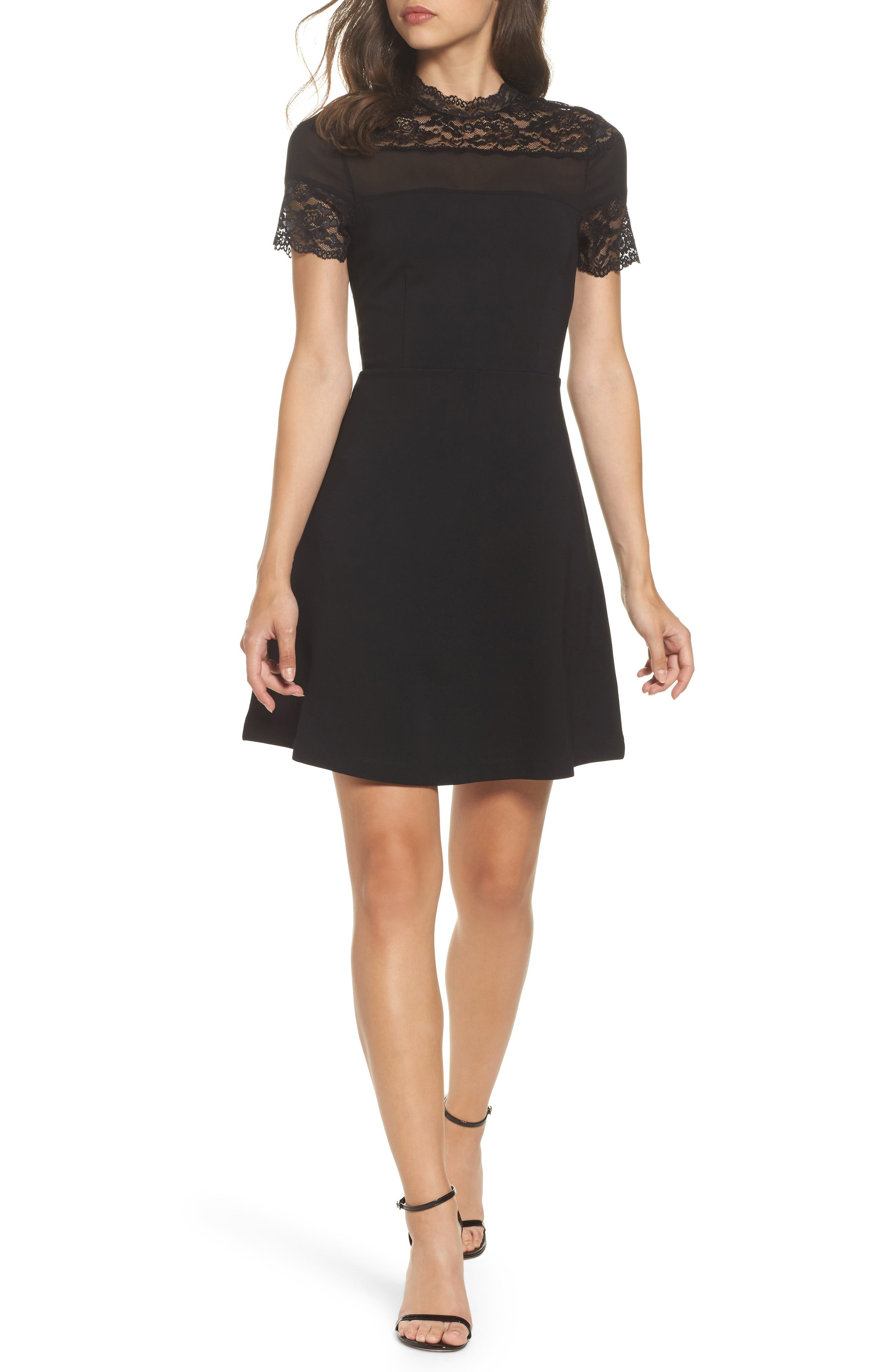 Katherine Lace Fit & Flare Dress,                         Main,                         color, Black