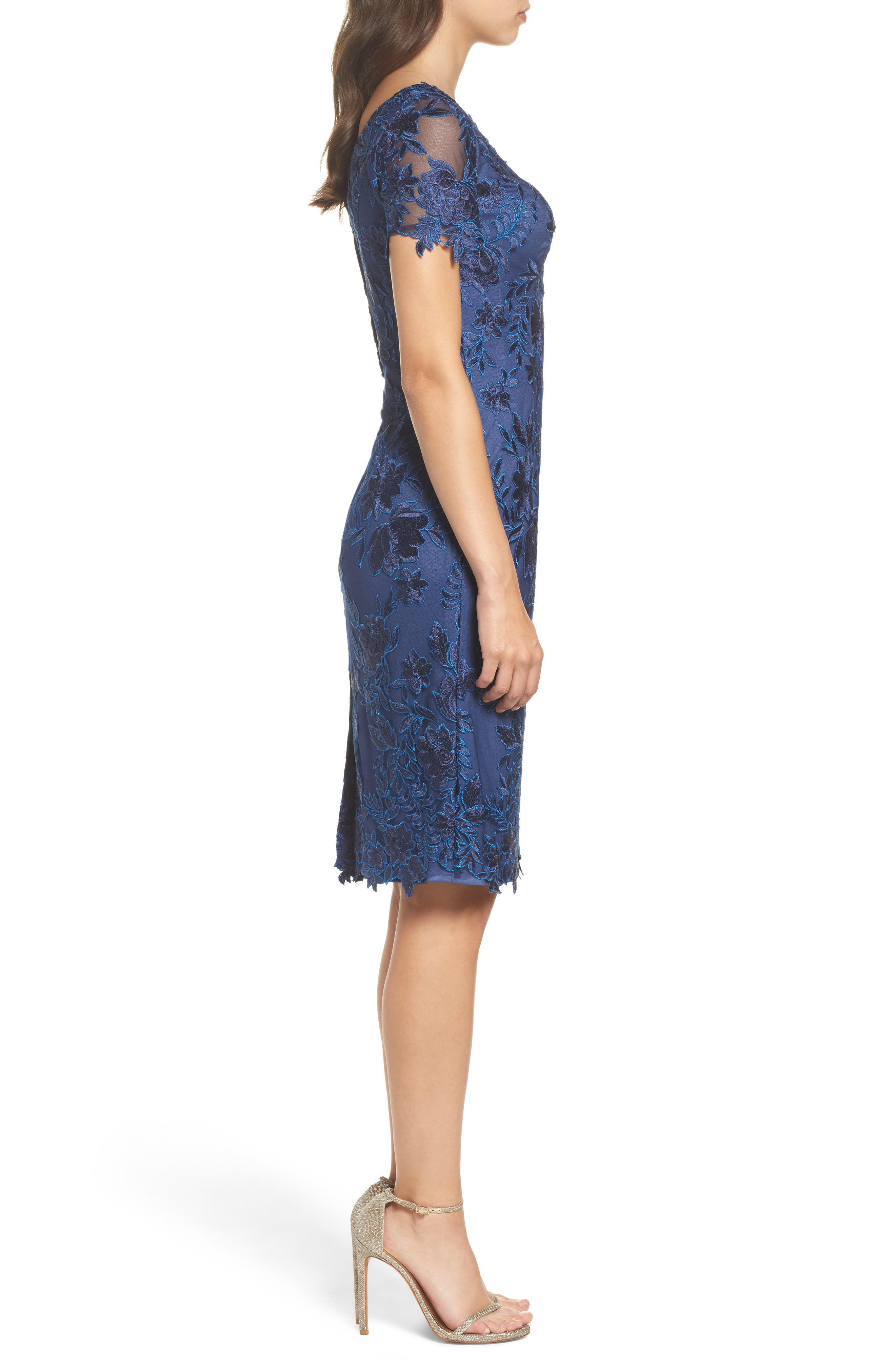 Alternate Image 3  - La Femme Lace Sheath Dress