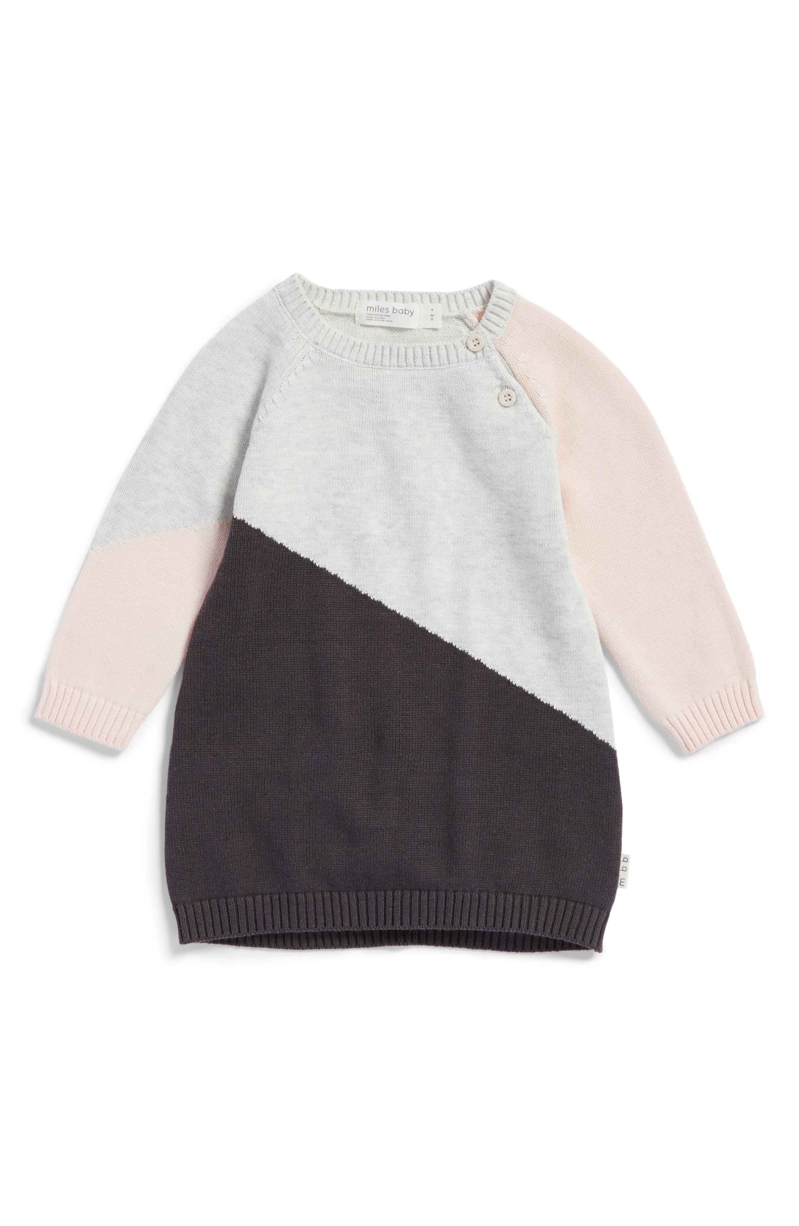 Main Image - Miles Baby Knit Sweater Dress (Baby Girls)