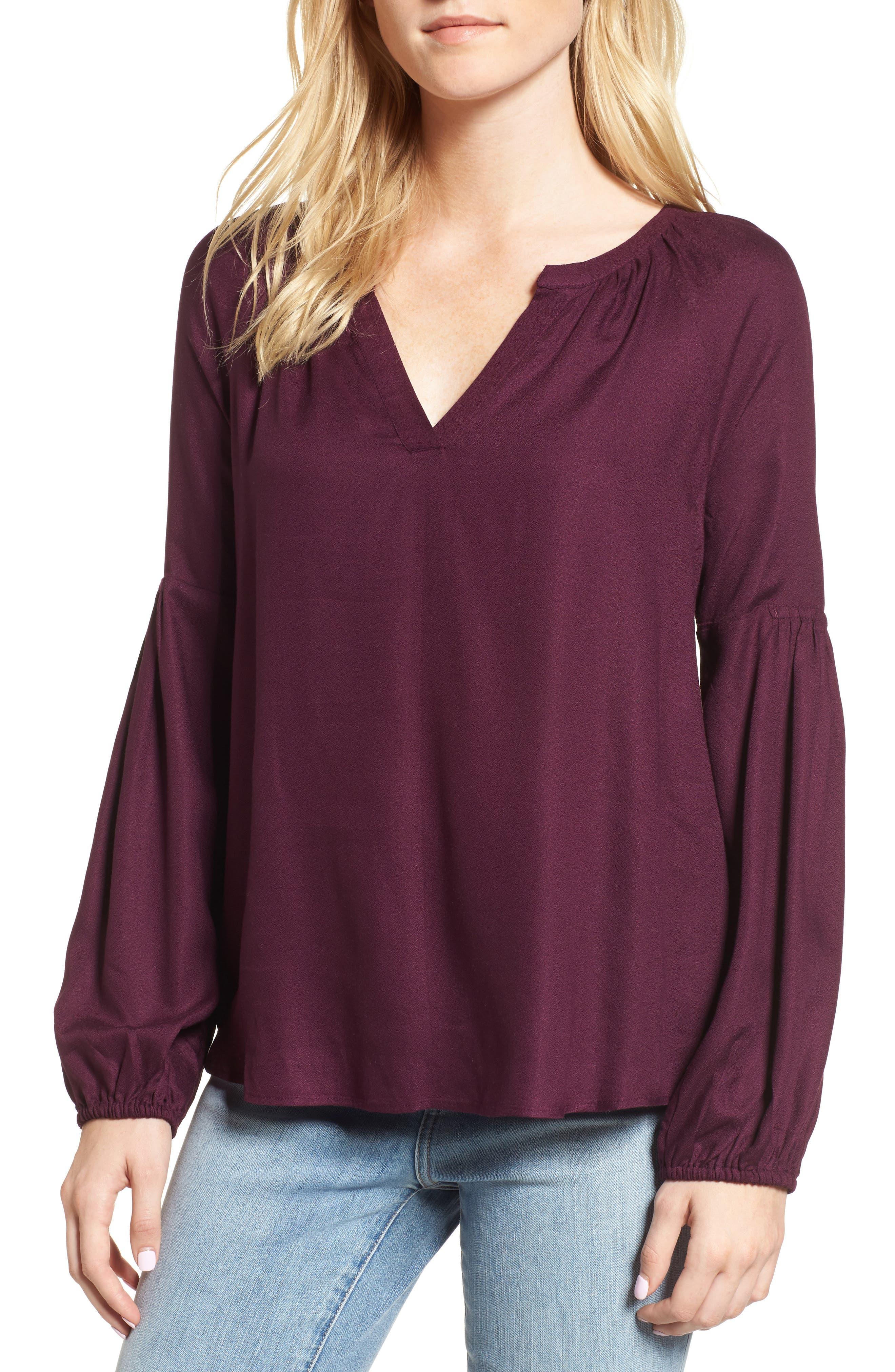 Blouson Sleeve Top,                             Main thumbnail 1, color,                             Purple Potent