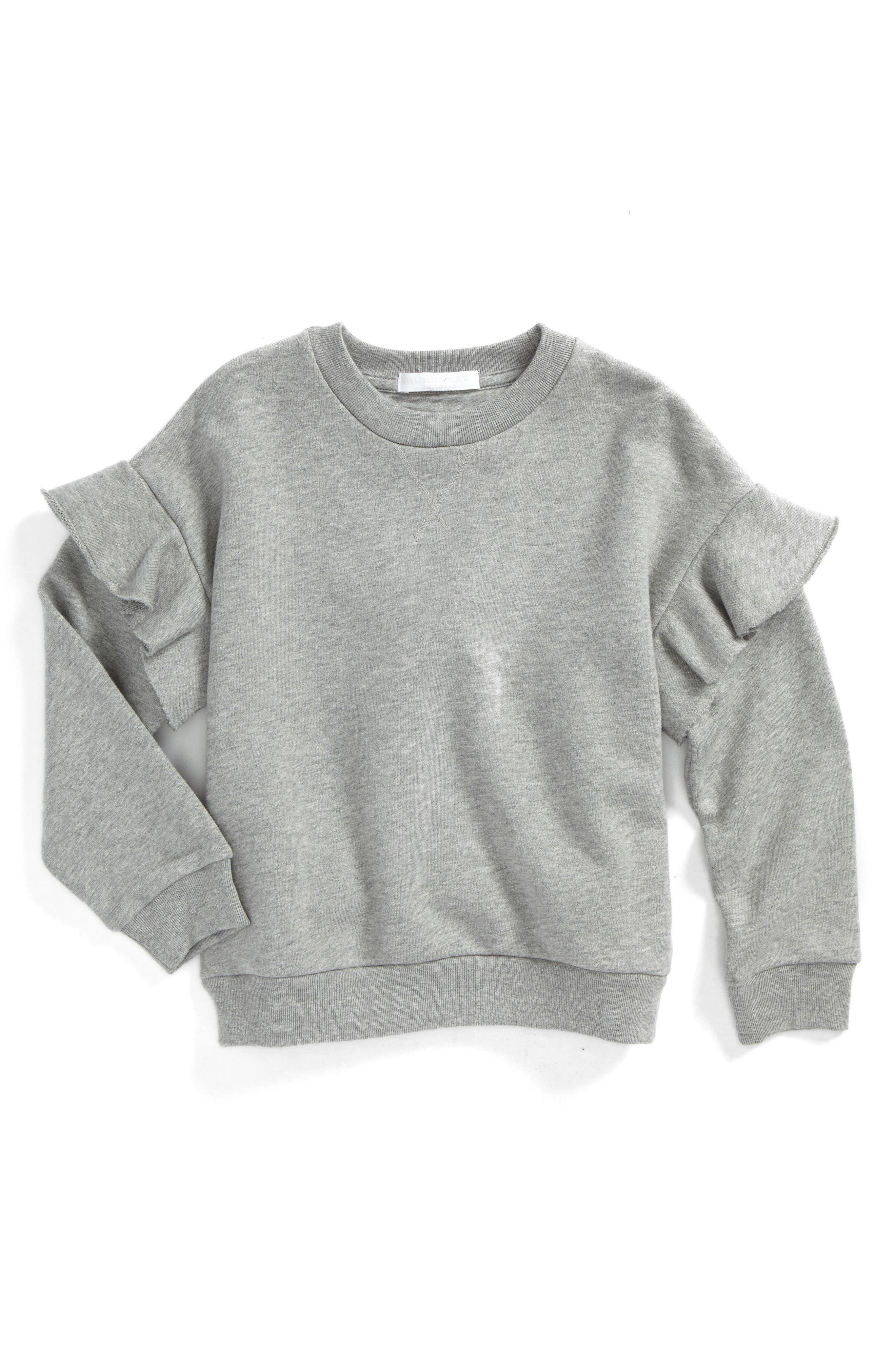 Mini Neiman Ruffle Sweatshirt,                             Main thumbnail 1, color,                             Grey Melange