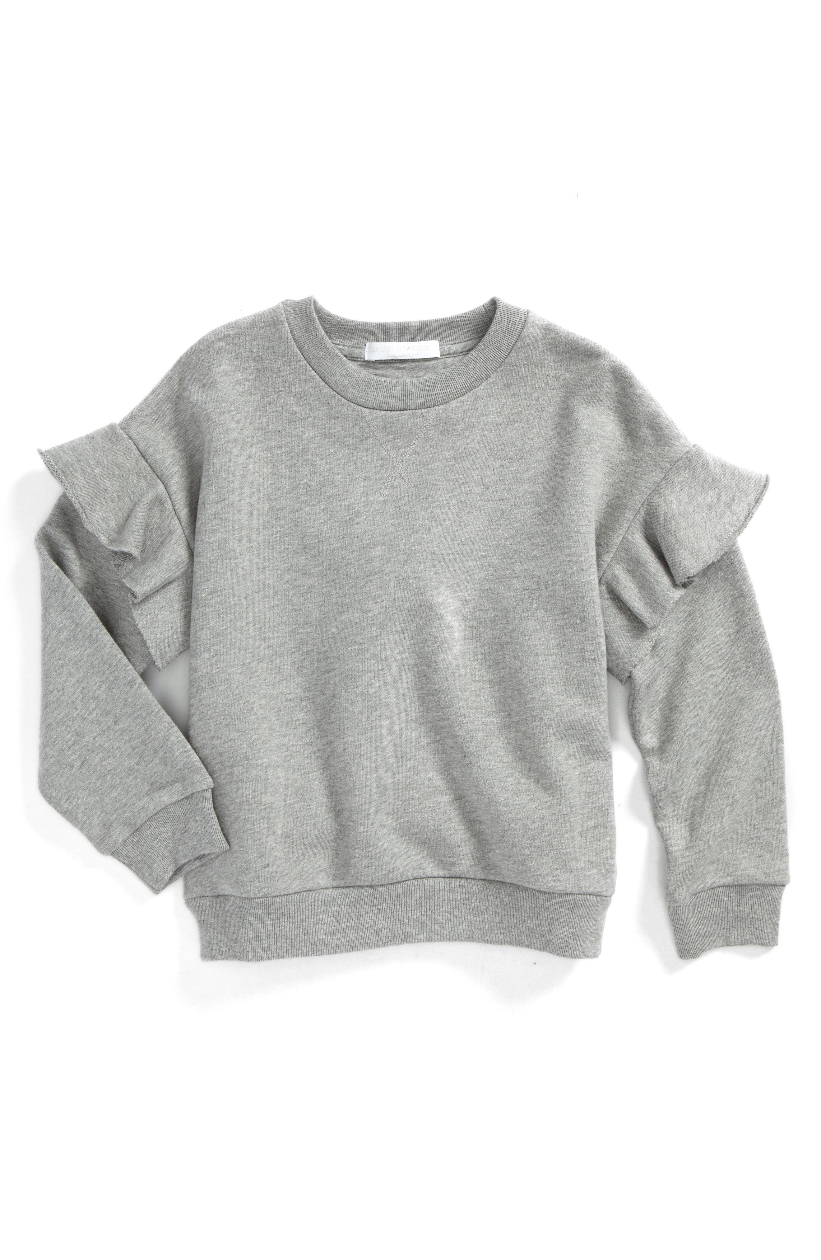 Main Image - Burberry Mini Neiman Ruffle Sweatshirt (Little Girls & Big Girls)