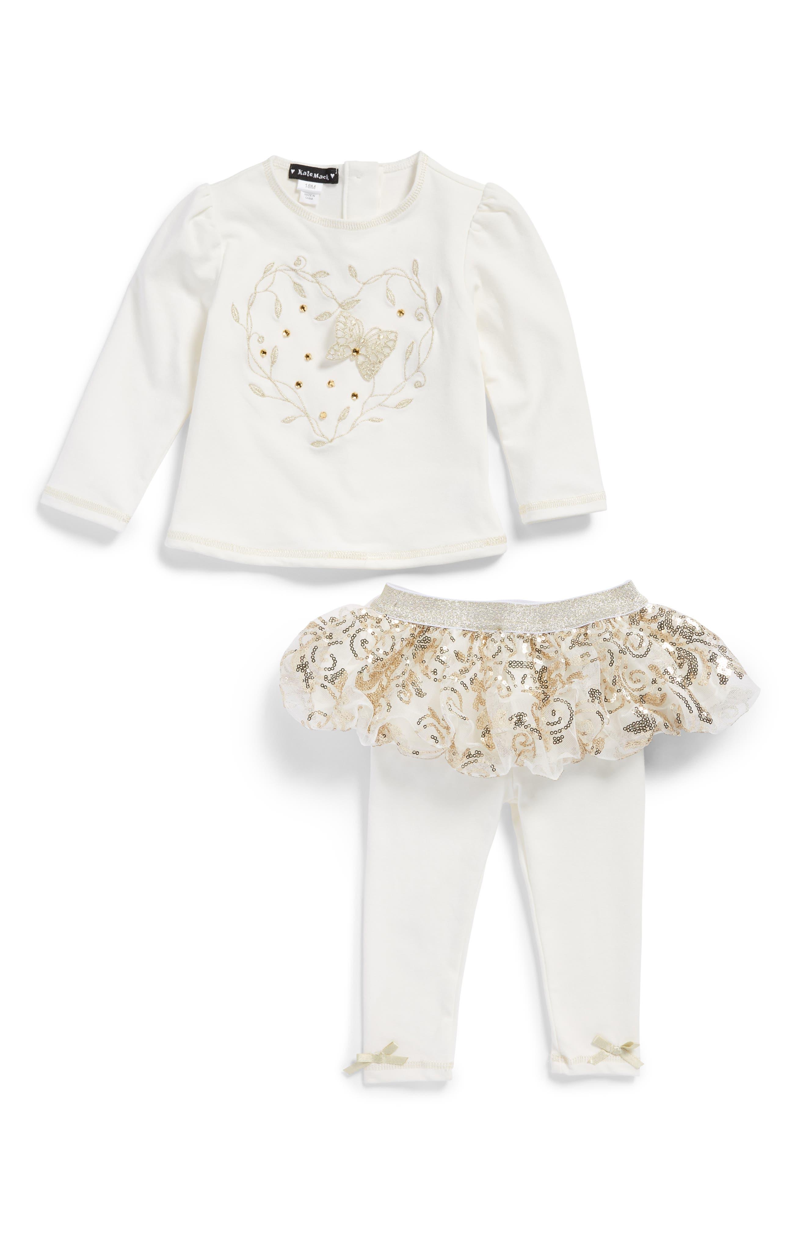 Alternate Image 1 Selected - Kate Mack Embroidered Top & Skirted Leggings Set (Baby Girls)