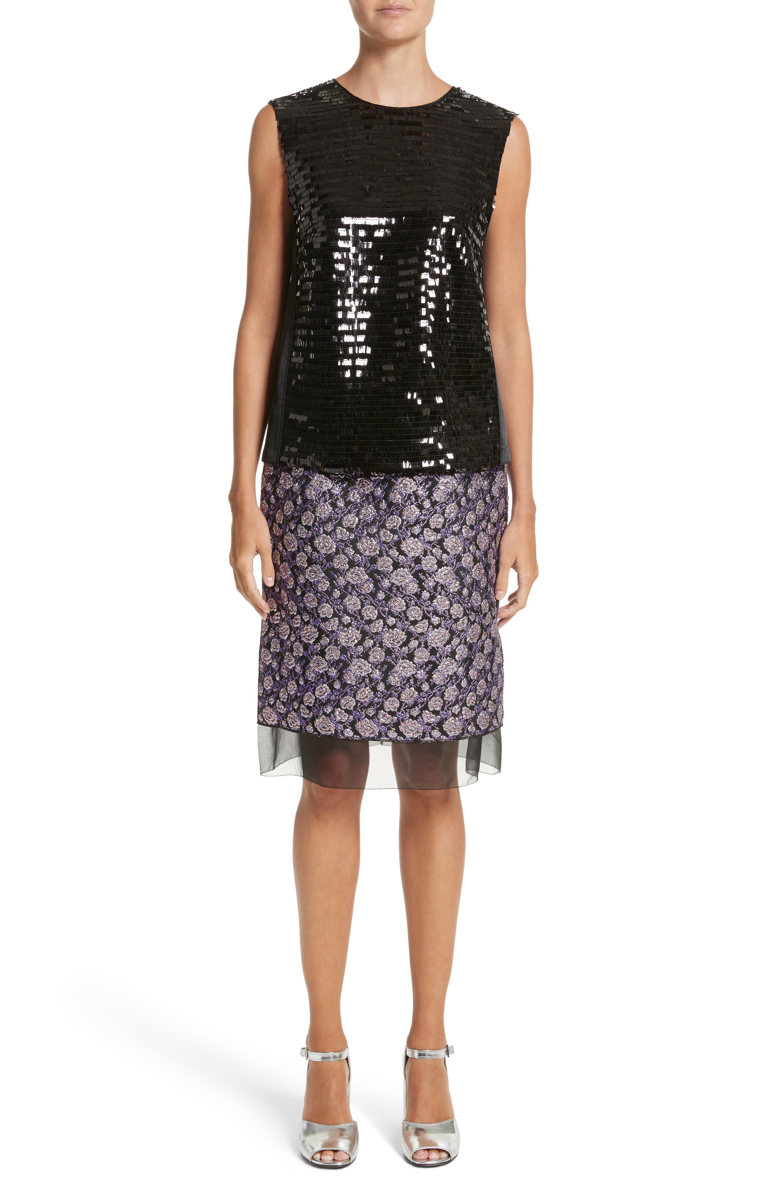 Metallic Jacquard Pencil Skirt,                             Alternate thumbnail 8, color,                             Purple Multi