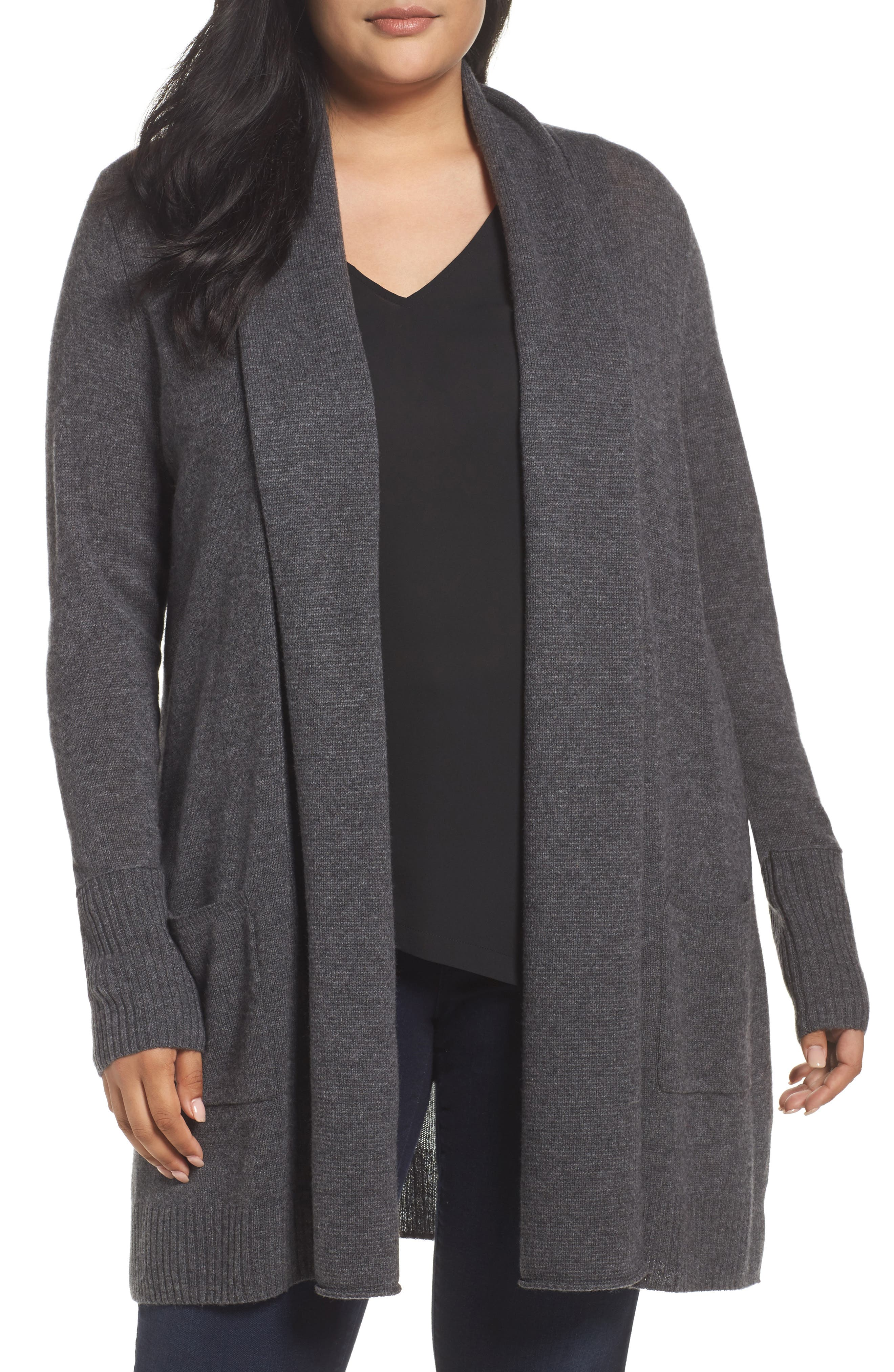 Pocket Cardigan,                         Main,                         color, Grey Charcoal Heather