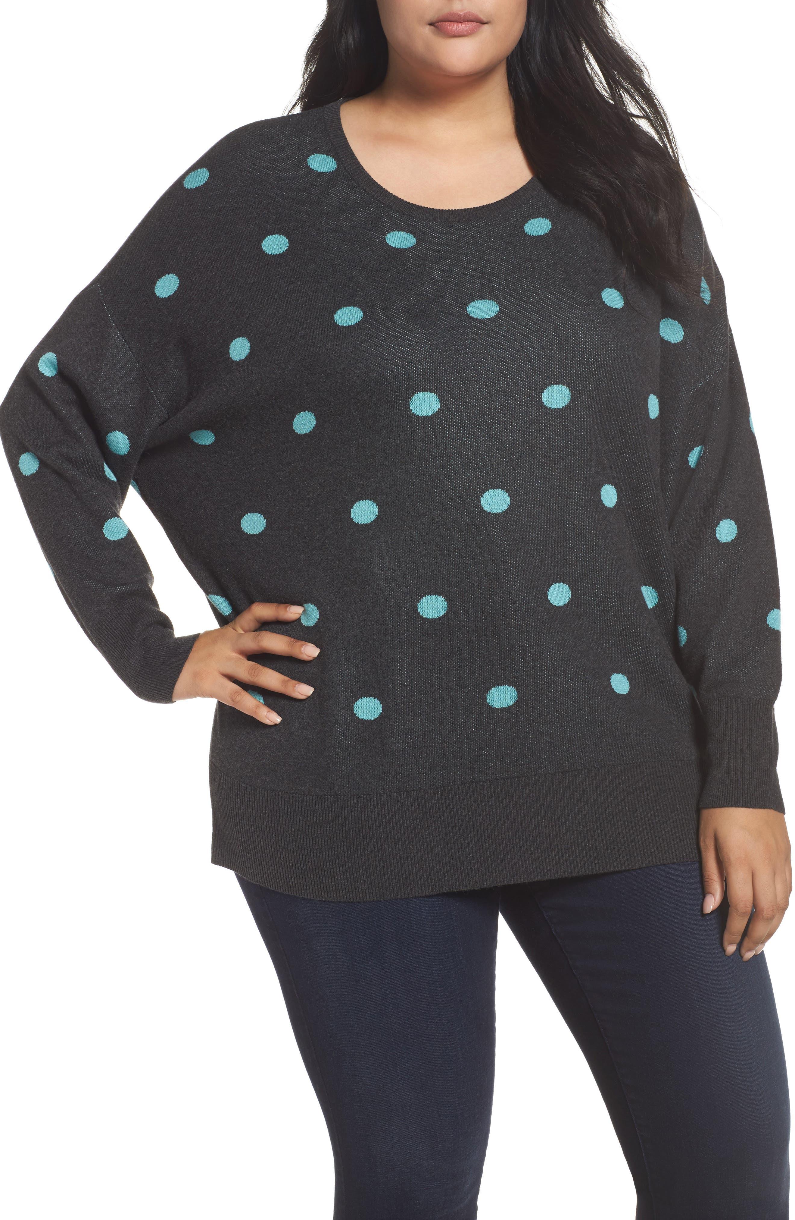 Dolman Sleeve Crewneck Sweater,                         Main,                         color, Grey- Blue Dots Pattern