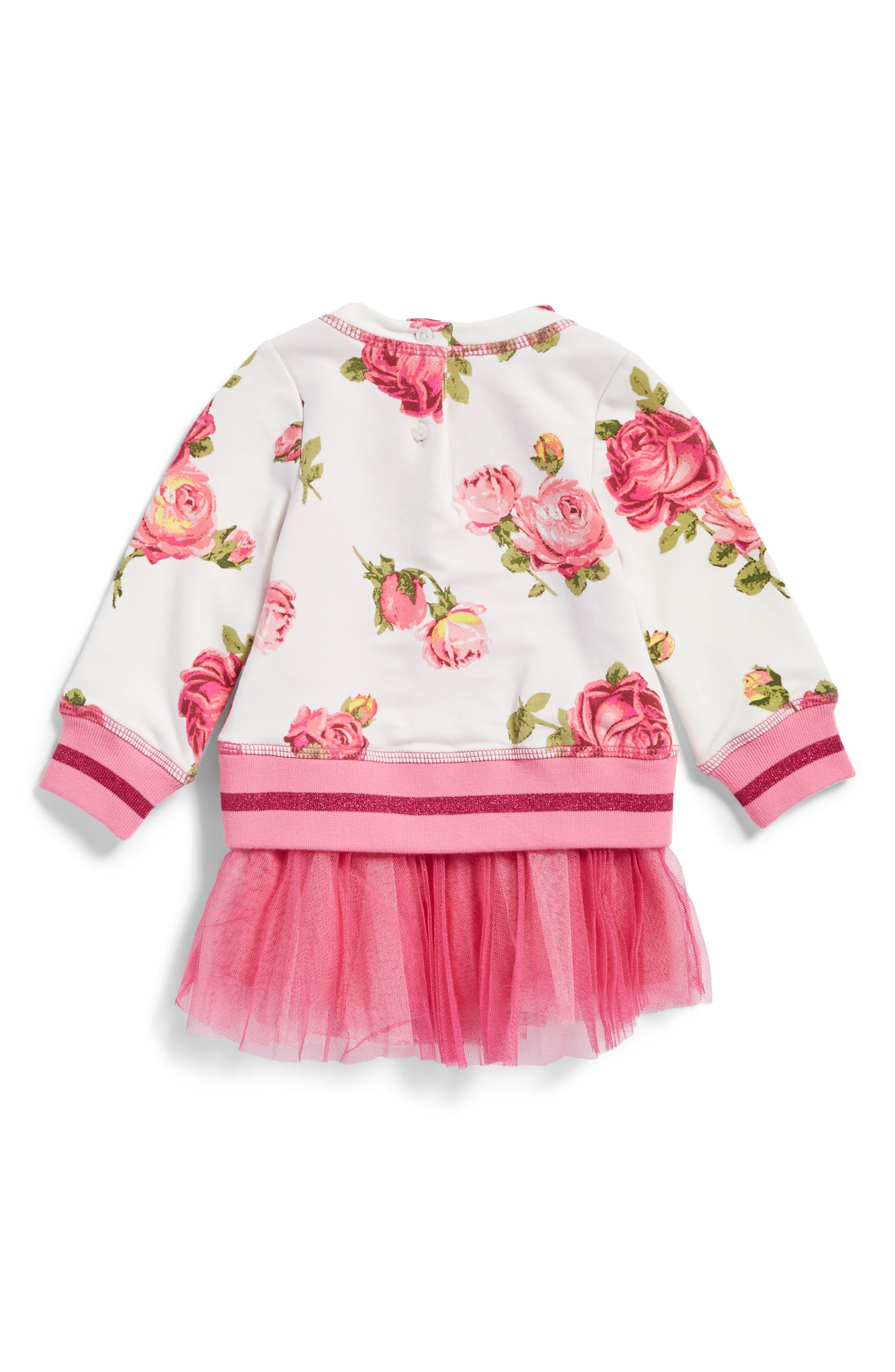 Floral Print Sweatshirt Tutu Dress,                             Alternate thumbnail 2, color,                             Multi