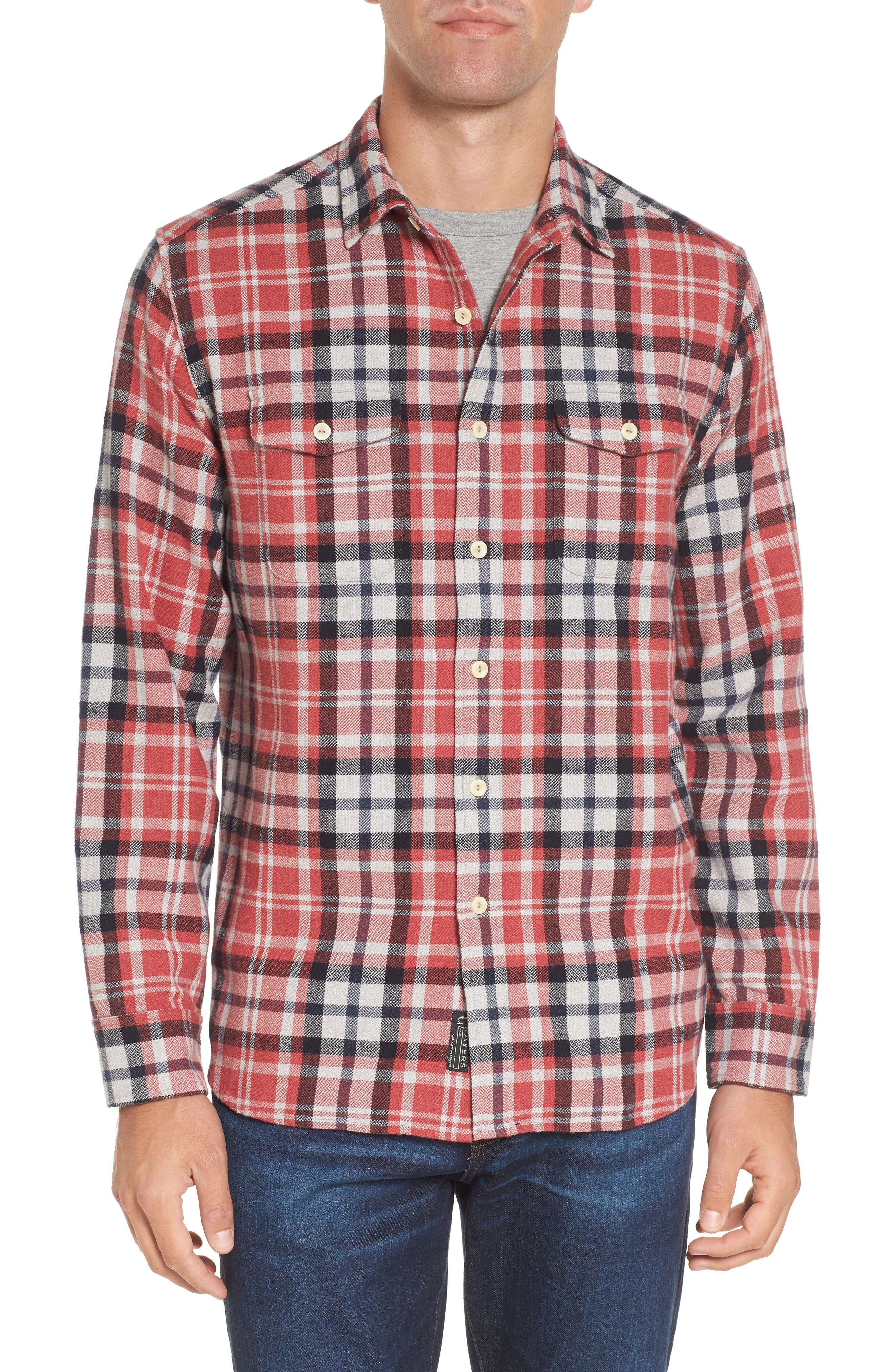 Brampton Textured Plaid Flannel Shirt,                         Main,                         color, Red Stone Navy