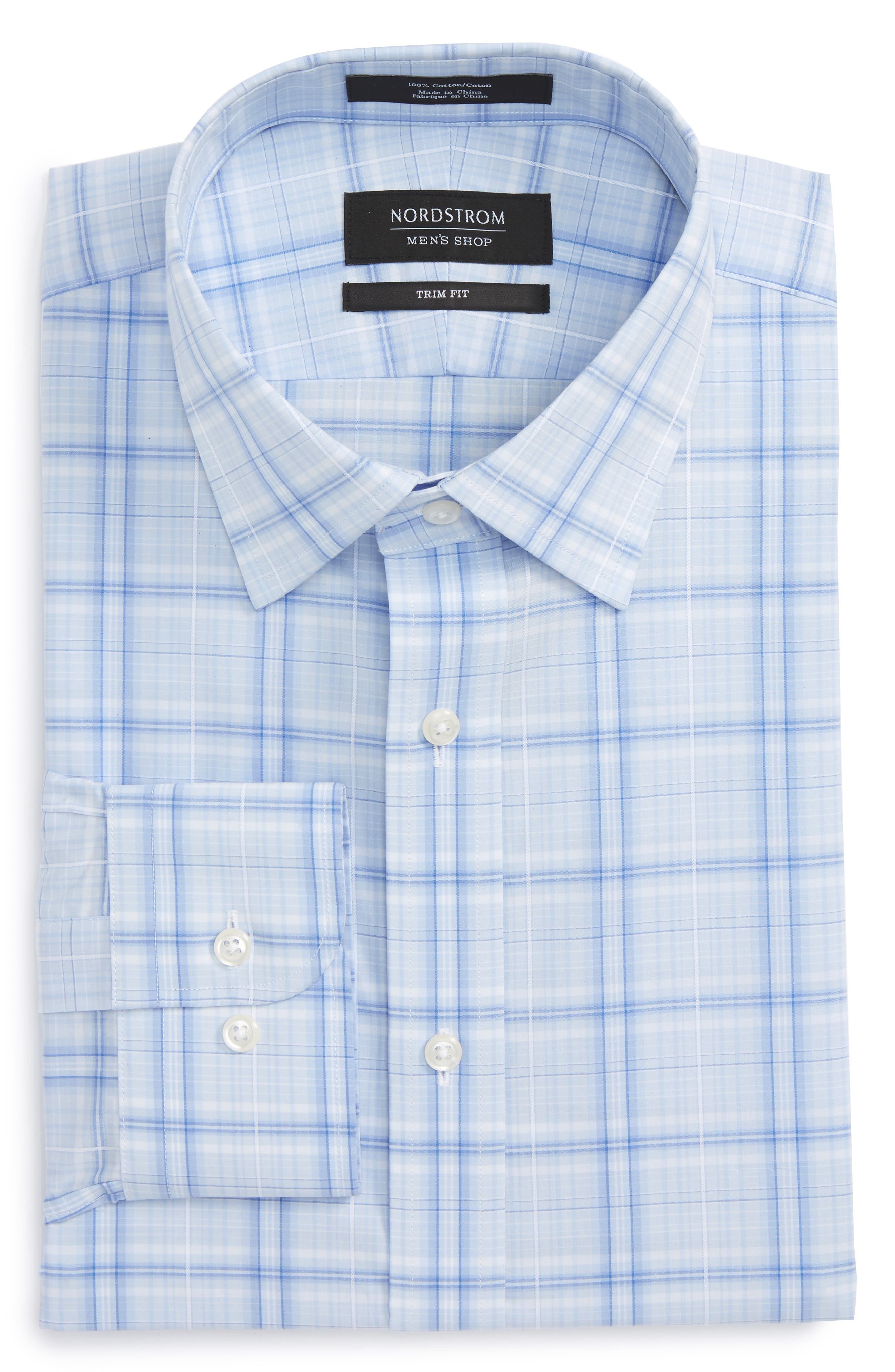 Trim Fit Plaid Dress Shirt,                             Main thumbnail 1, color,                             Blue Stork