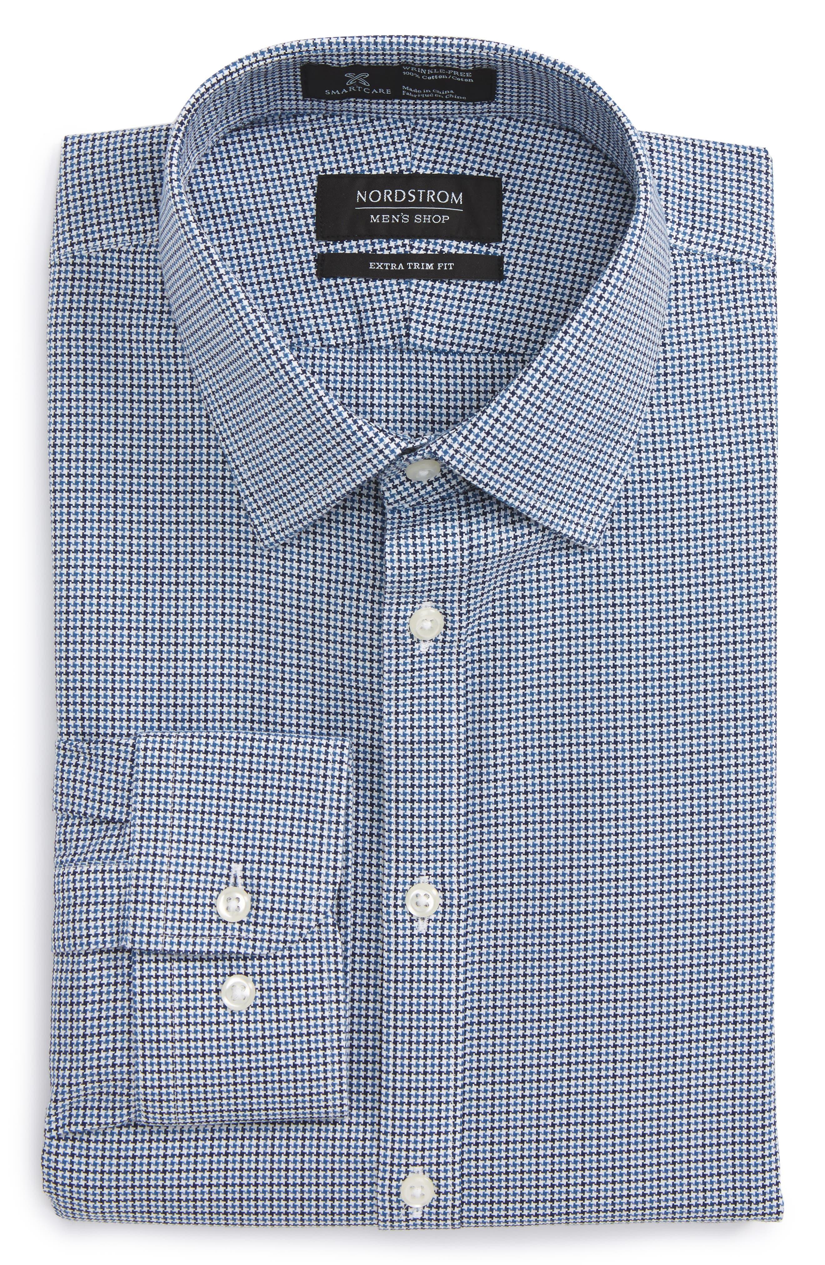 Nordstrom Men's Shop Smartcare™ Extra Trim Fit Houndstooth Dress Shirt