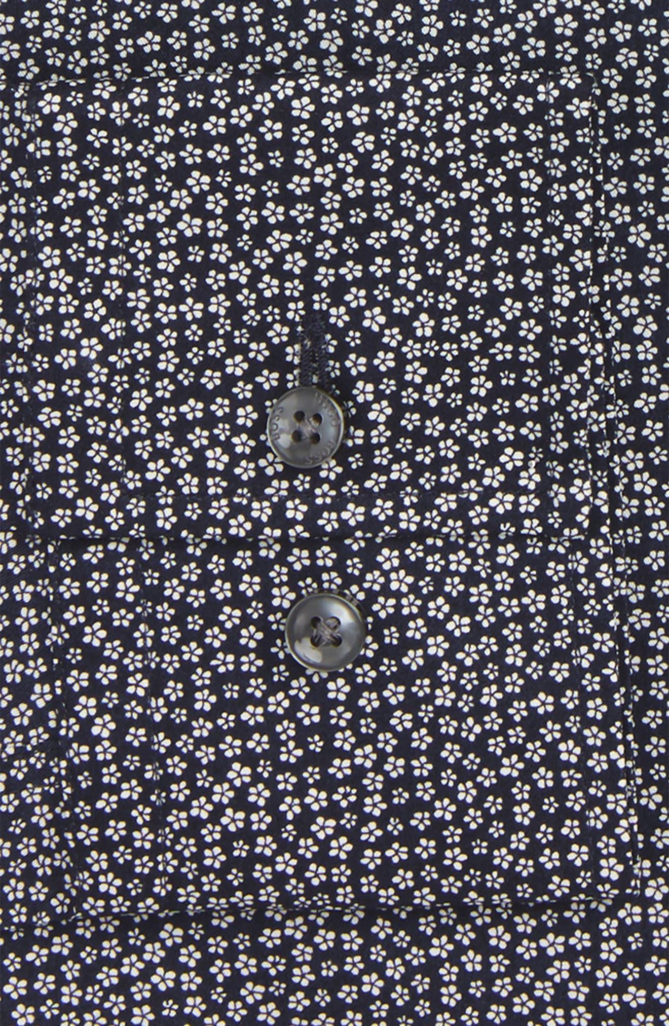 Slim Fit Floral Dress Shirt,                             Alternate thumbnail 2, color,                             Navy