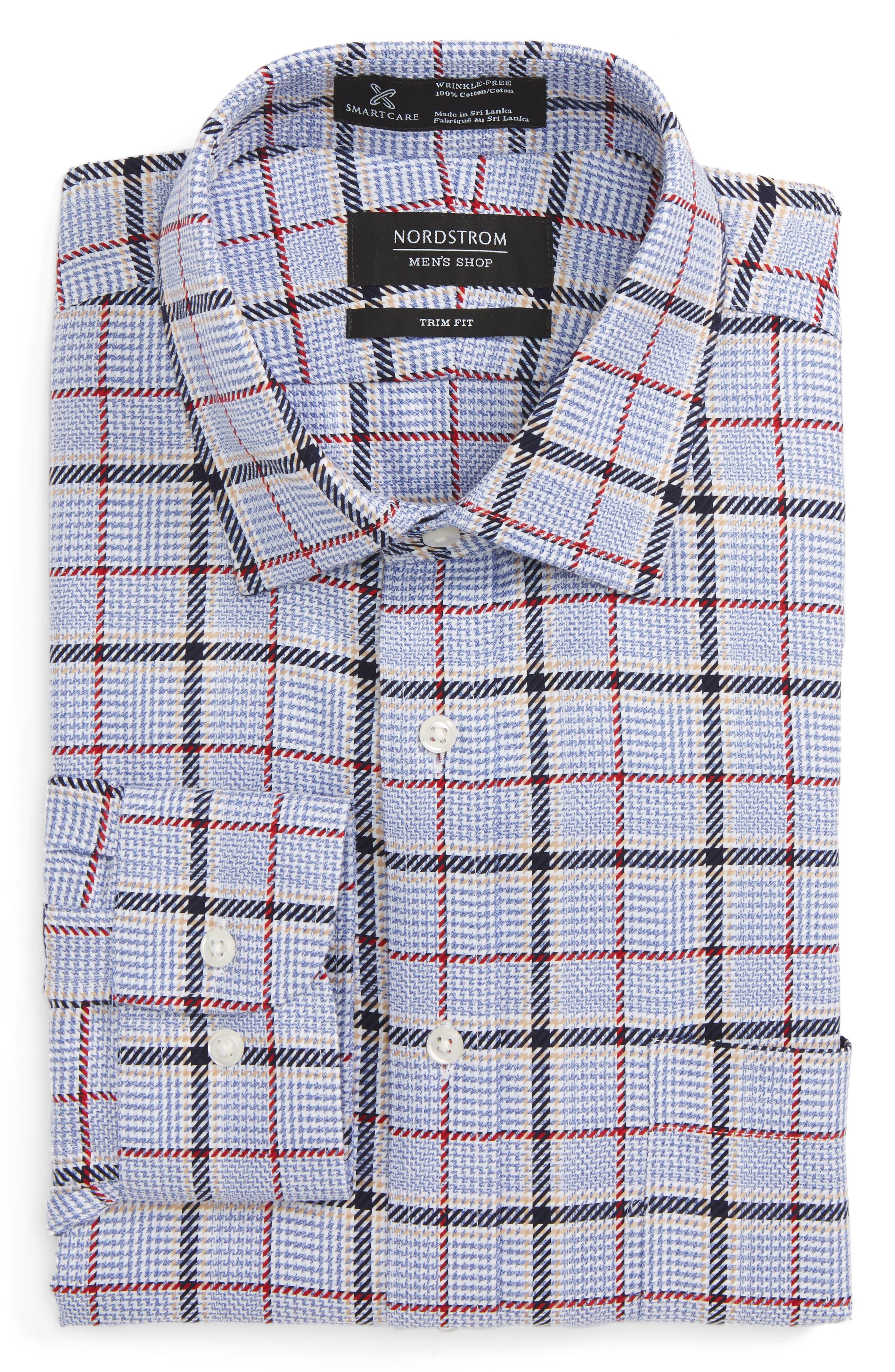 Nordstrom Men's Shop Smartcare™ Trim Fit Plaid Dress Shirt
