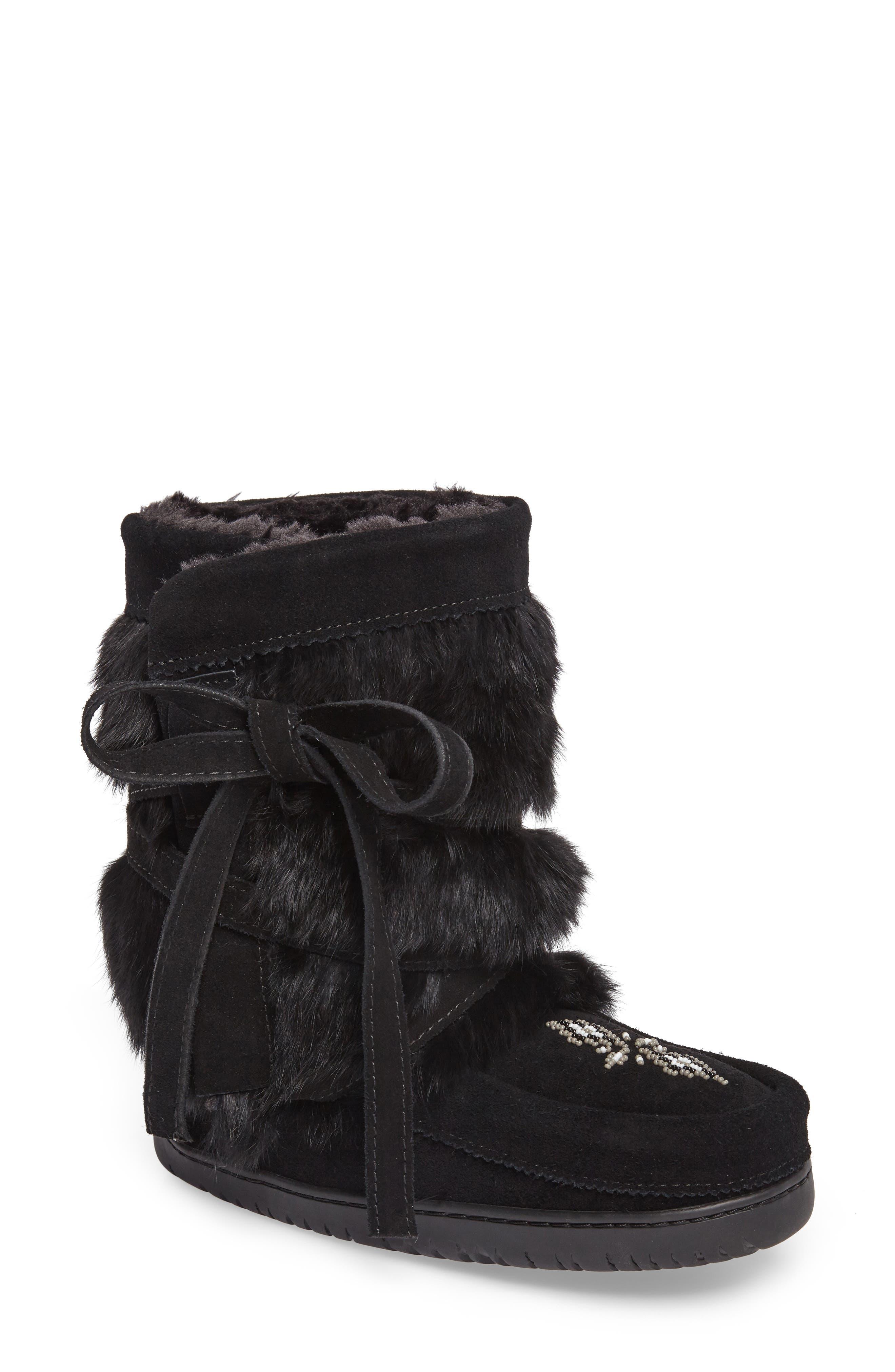 Beaded Short Wrap Genuine Rabbit Fur & Shearling Boot,                         Main,                         color, Black Rabbit Fur
