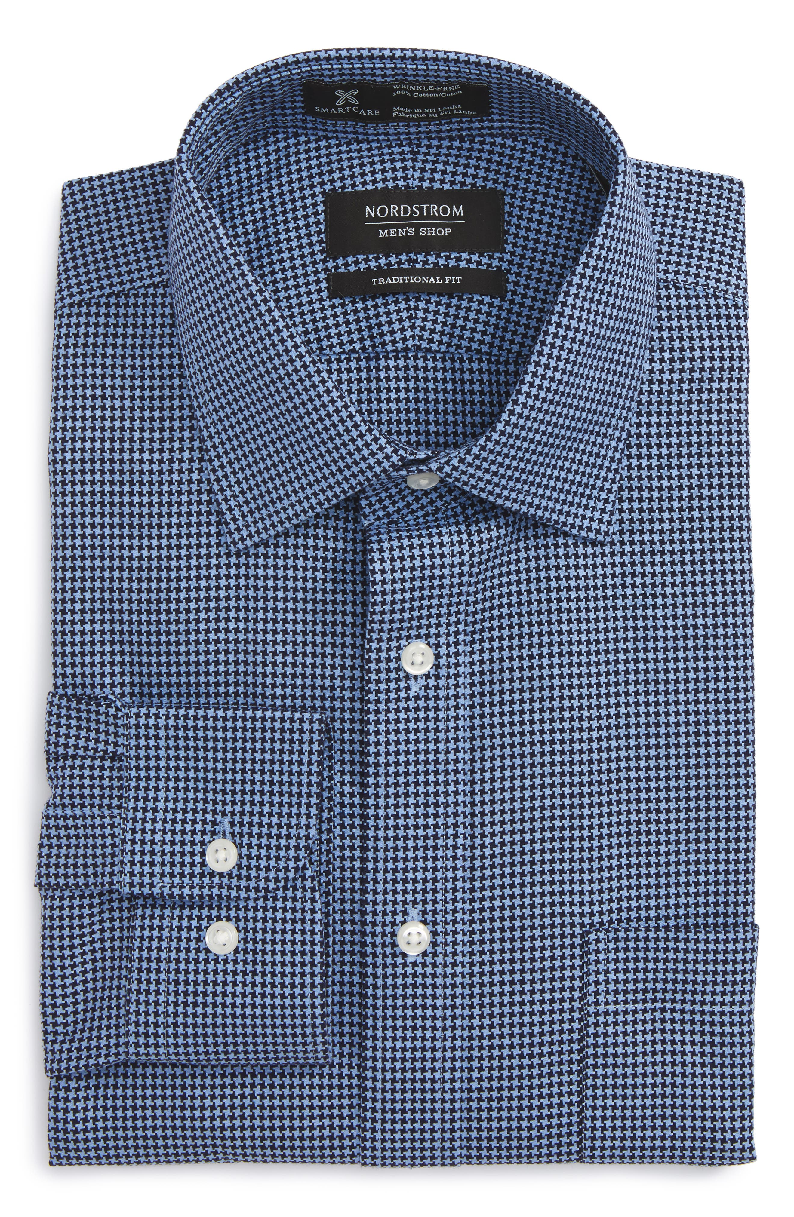 Smartcare<sup>™</sup> Traditional Fit Houndstooth Dress Shirt,                             Main thumbnail 1, color,                             Navy Evening