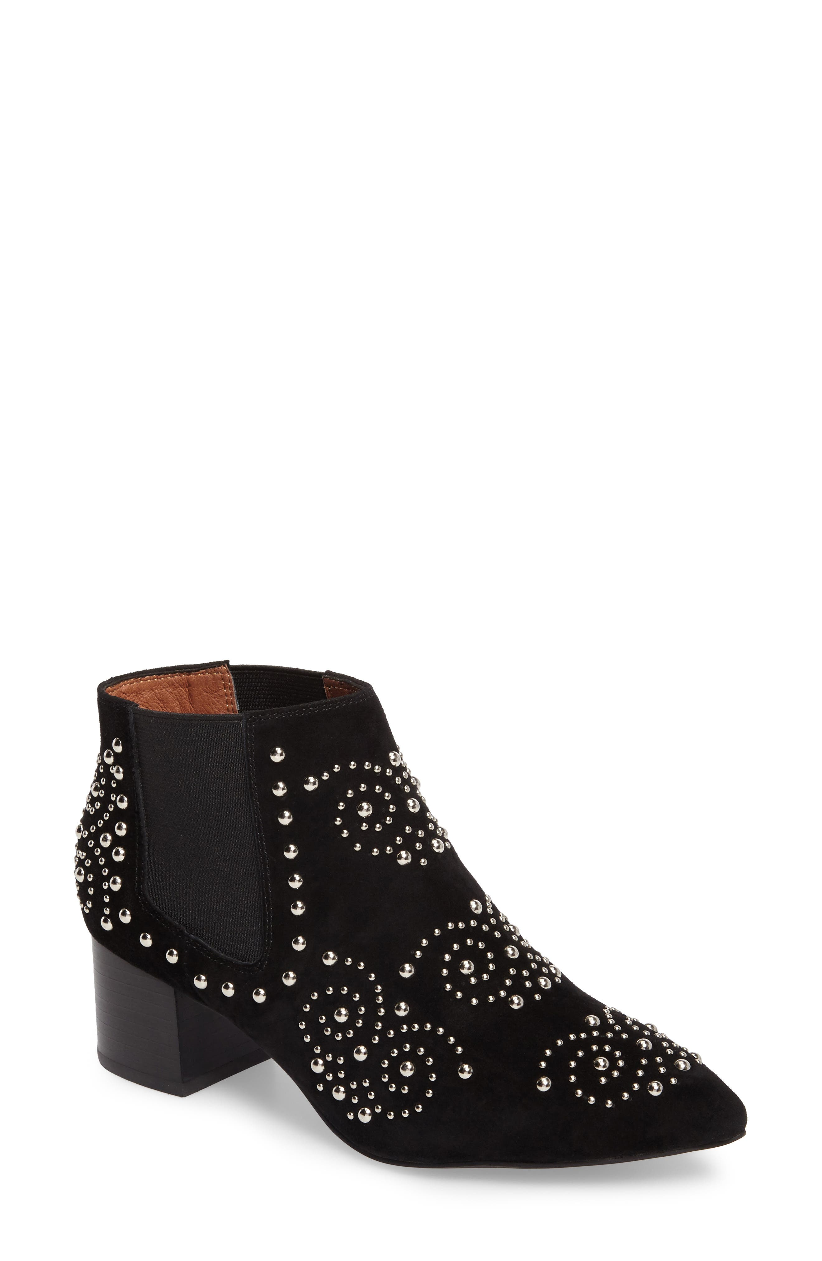 Mulvain Studded Bootie,                             Main thumbnail 1, color,                             Black Suede
