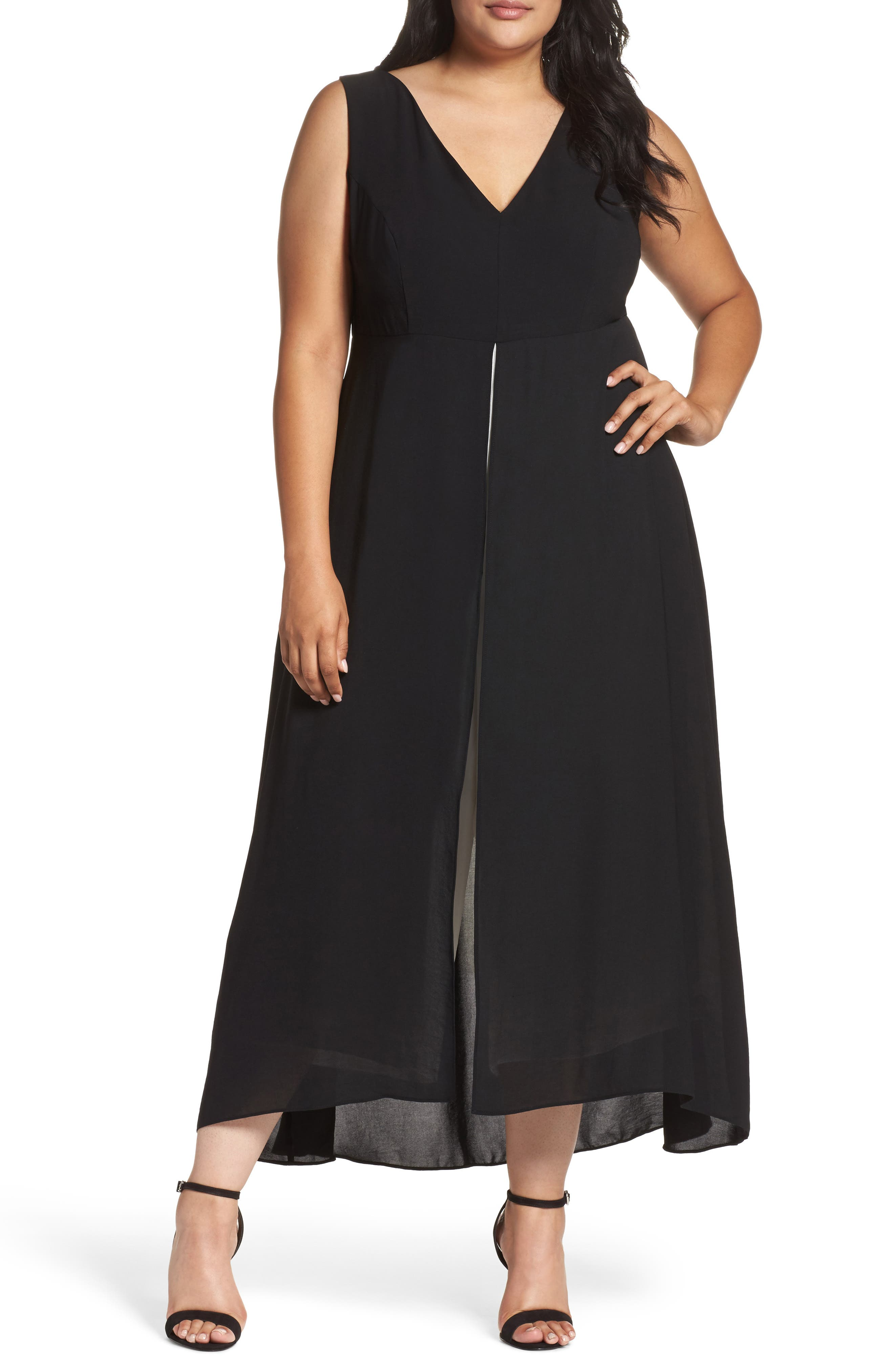 Alternate Image 1 Selected - Adrianna Papell Colorblock V-Neck Jumpsuit (Plus Size)