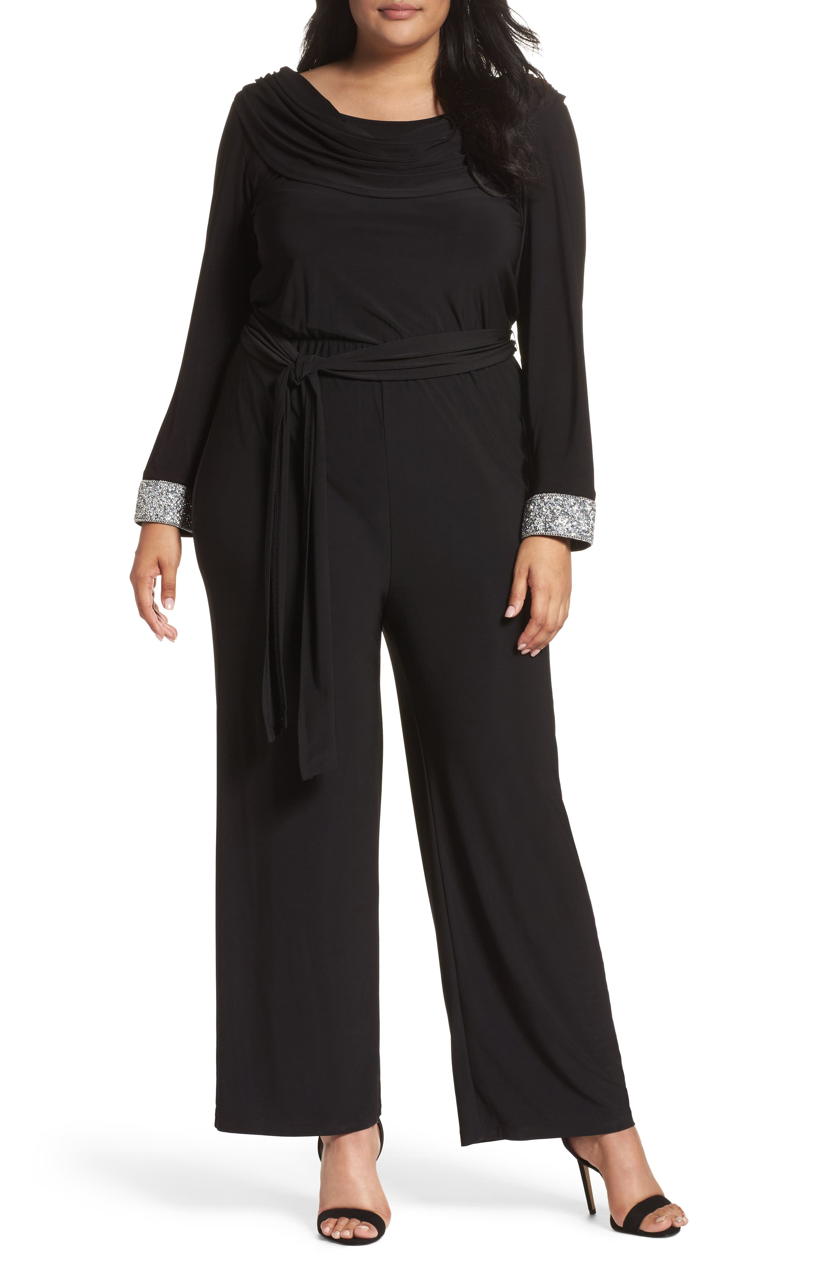 Embellished Cowl Back Jumpsuit,                             Main thumbnail 1, color,                             Black