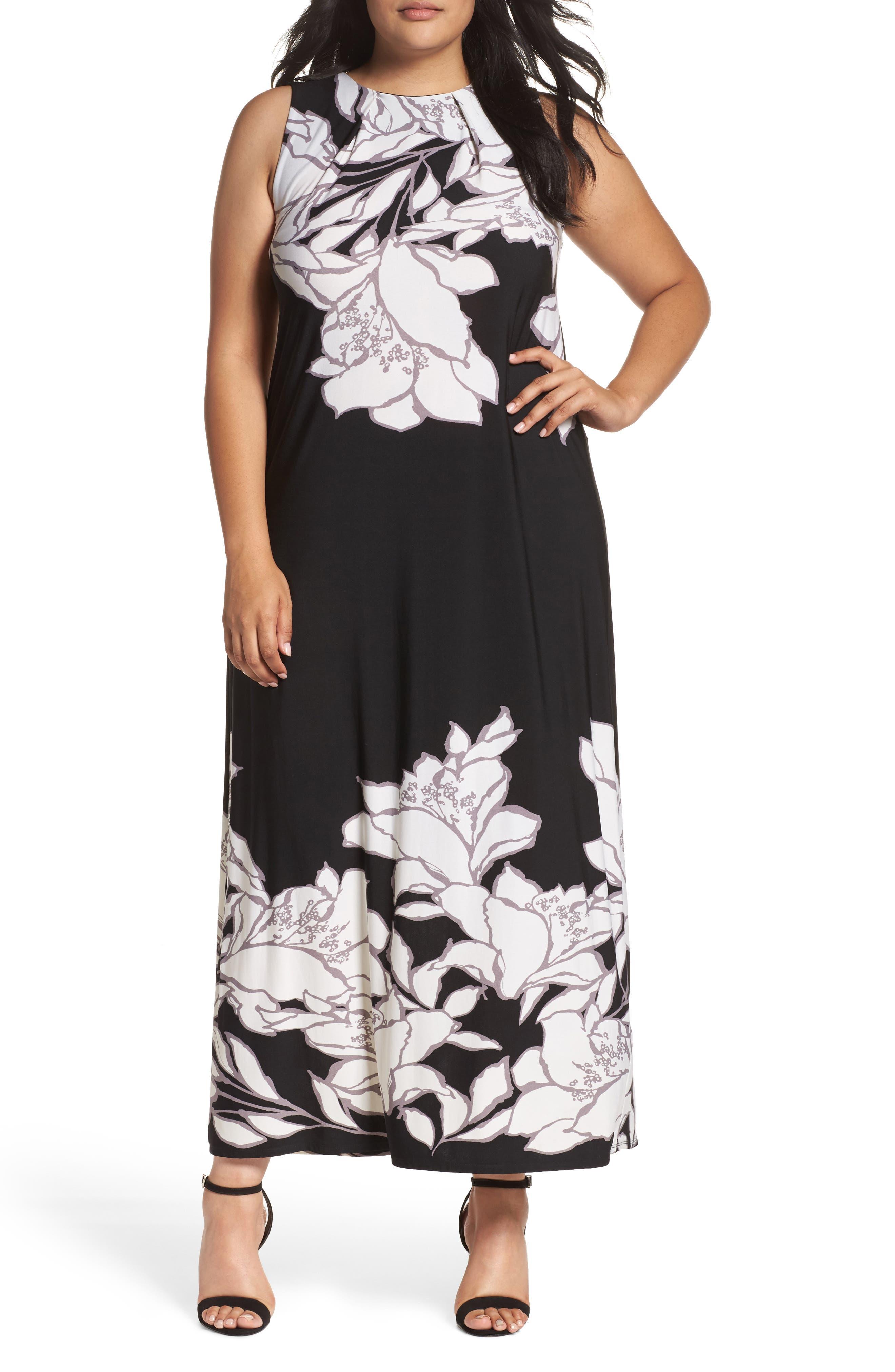 Evans Floral Border Maxi Dress (Plus Size)