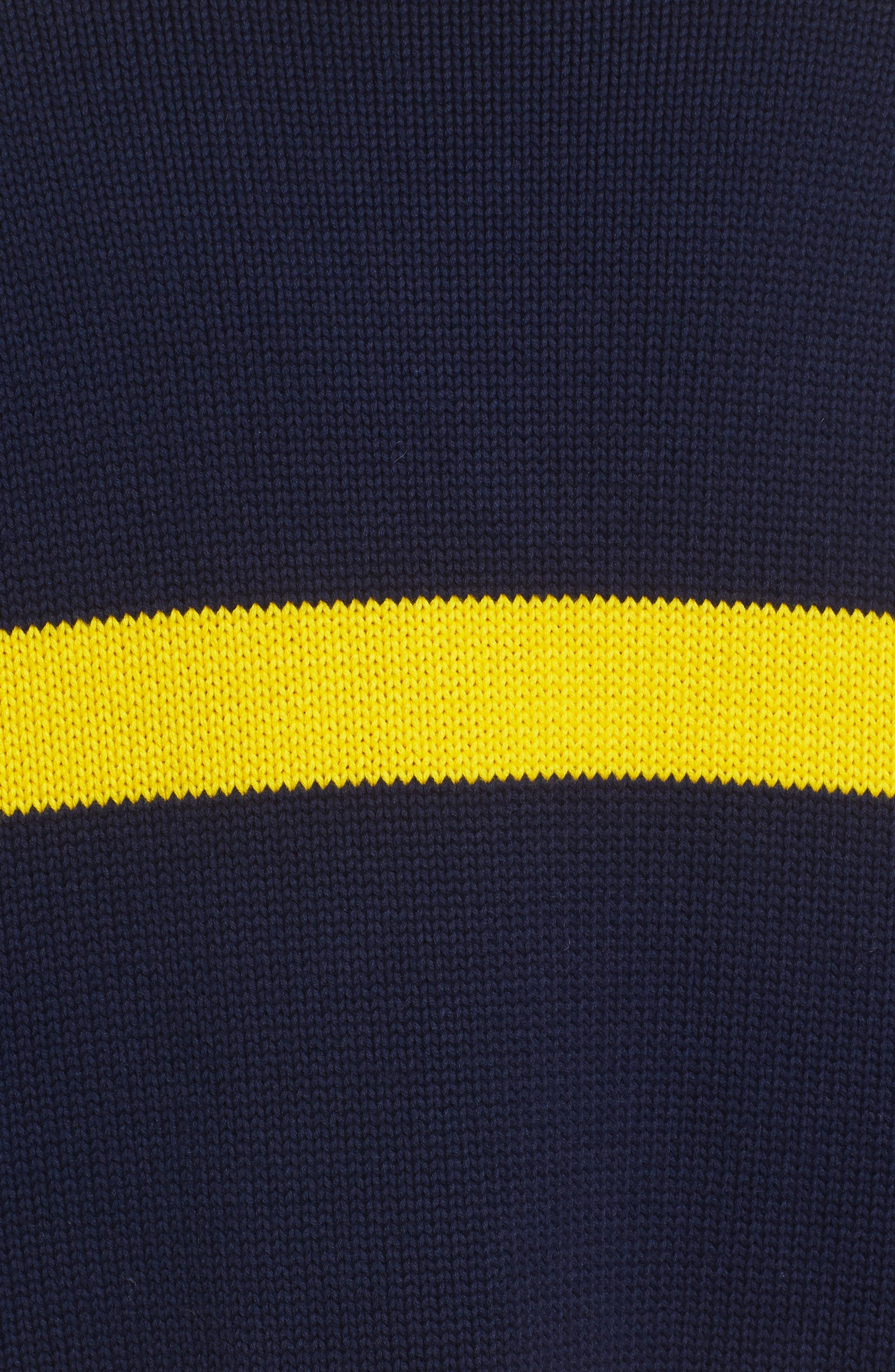 PUMA by Rihanna Longline Stripe Sweater,                             Alternate thumbnail 5, color,                             Navy/ Yellow Stripe