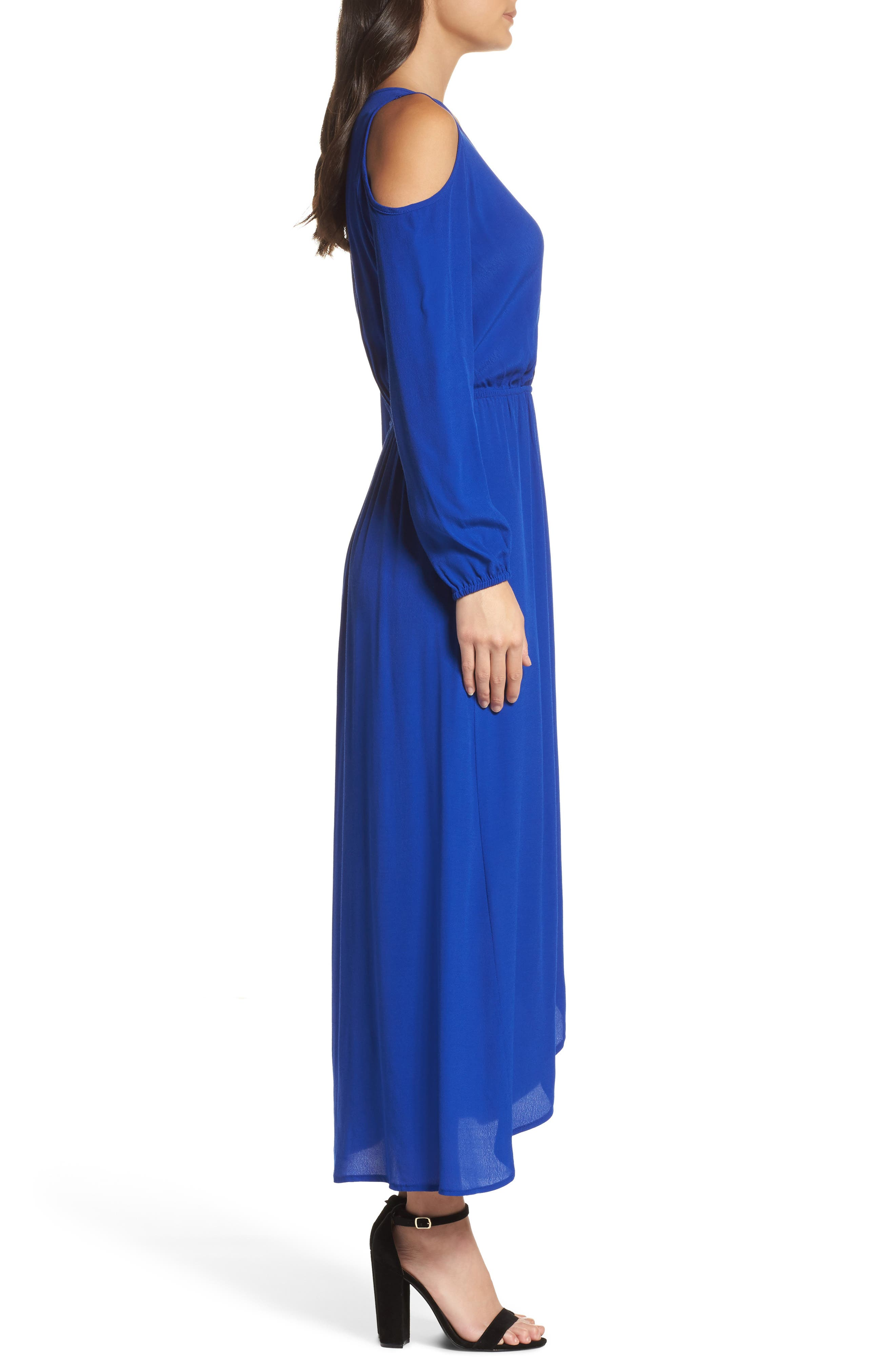 Cold Shoulder Maxi Dress,                             Alternate thumbnail 3, color,                             Royal