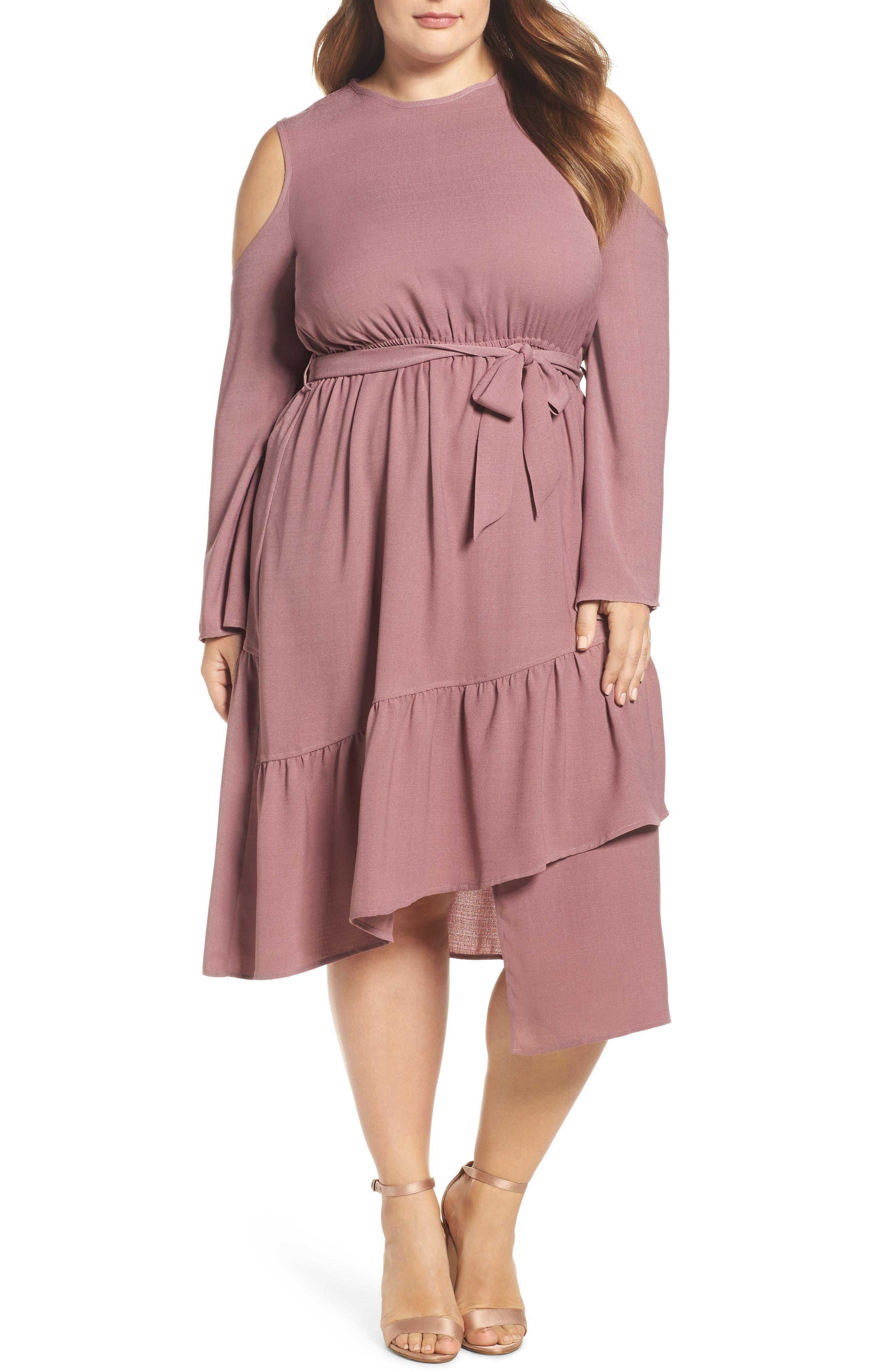 Cold Shoulder A-Line Dress,                         Main,                         color, Pink
