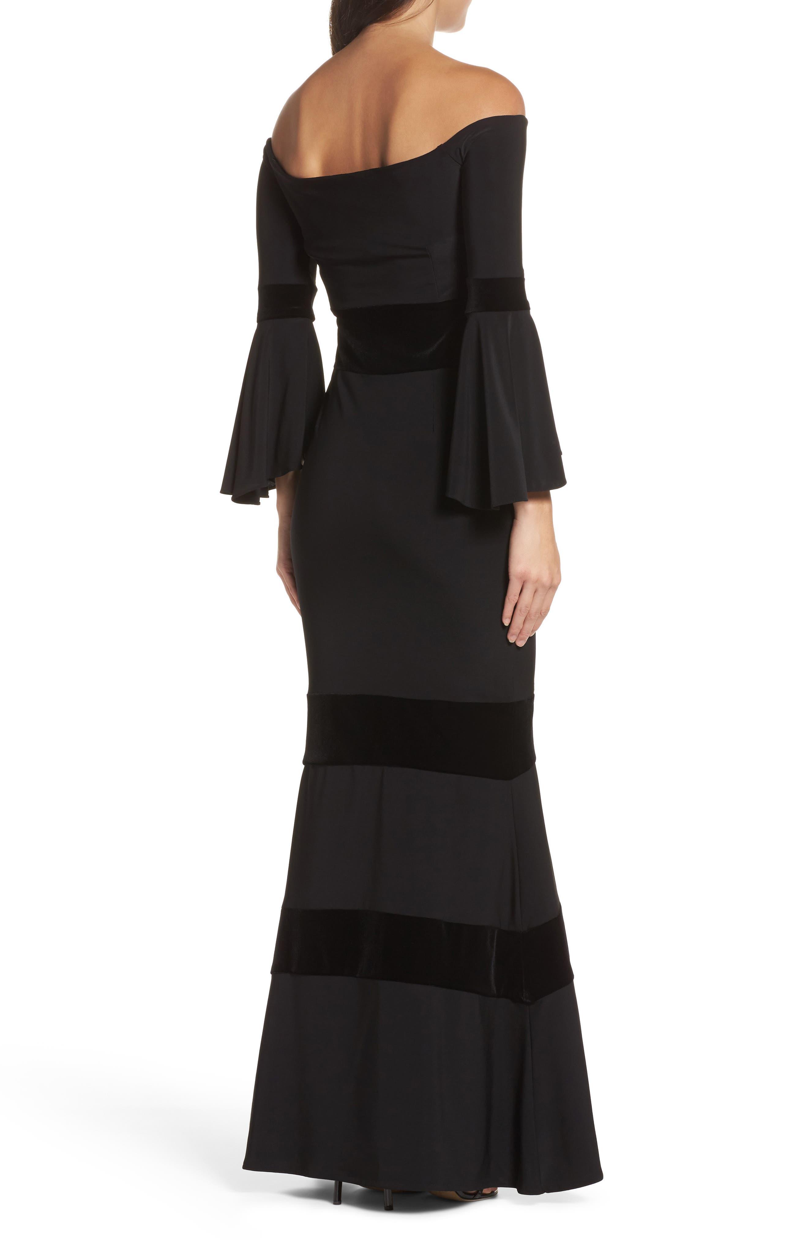 Velvet Trim Off the Shoulder Mermaid Dress,                             Alternate thumbnail 2, color,                             Black