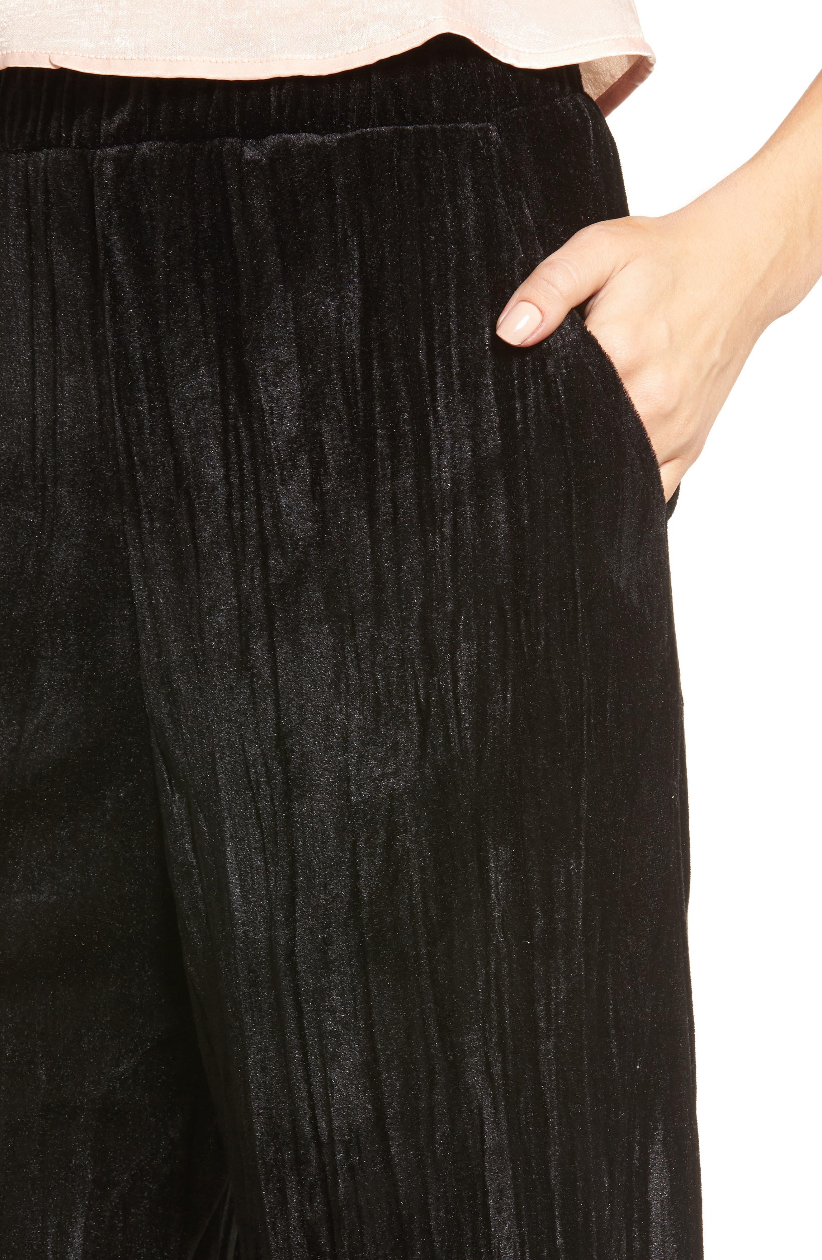 Velvet Culottes,                             Alternate thumbnail 4, color,                             Black